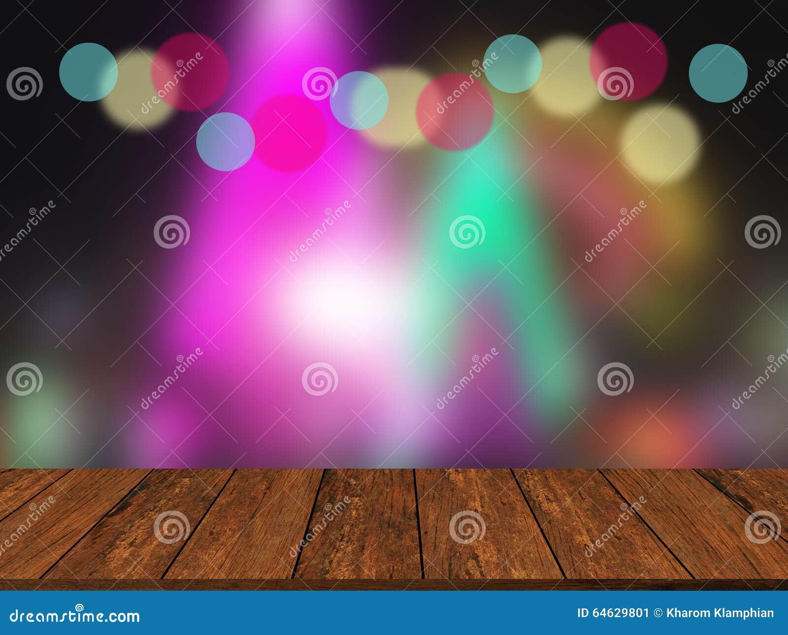 Oude houten lijstbovenkant op kleurrijke vage lichte samenvatting backgroun
