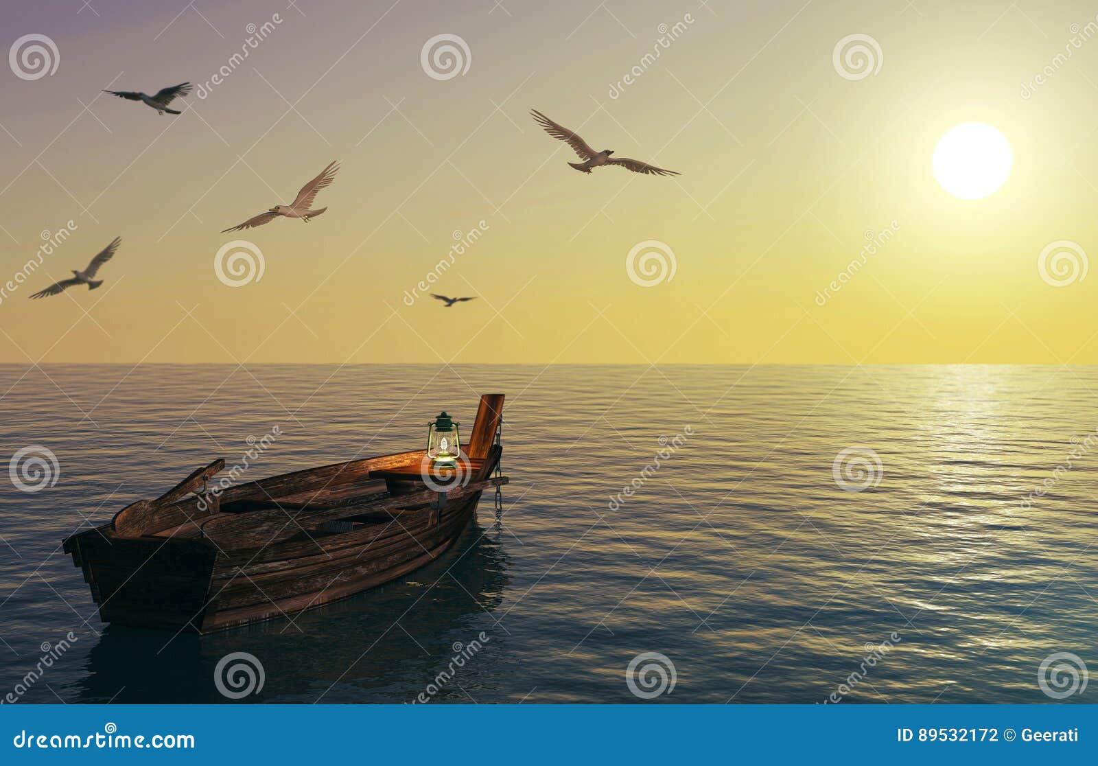 Oude houten vissersboot die over kalme overzeese en zonsonderganghemel drijven
