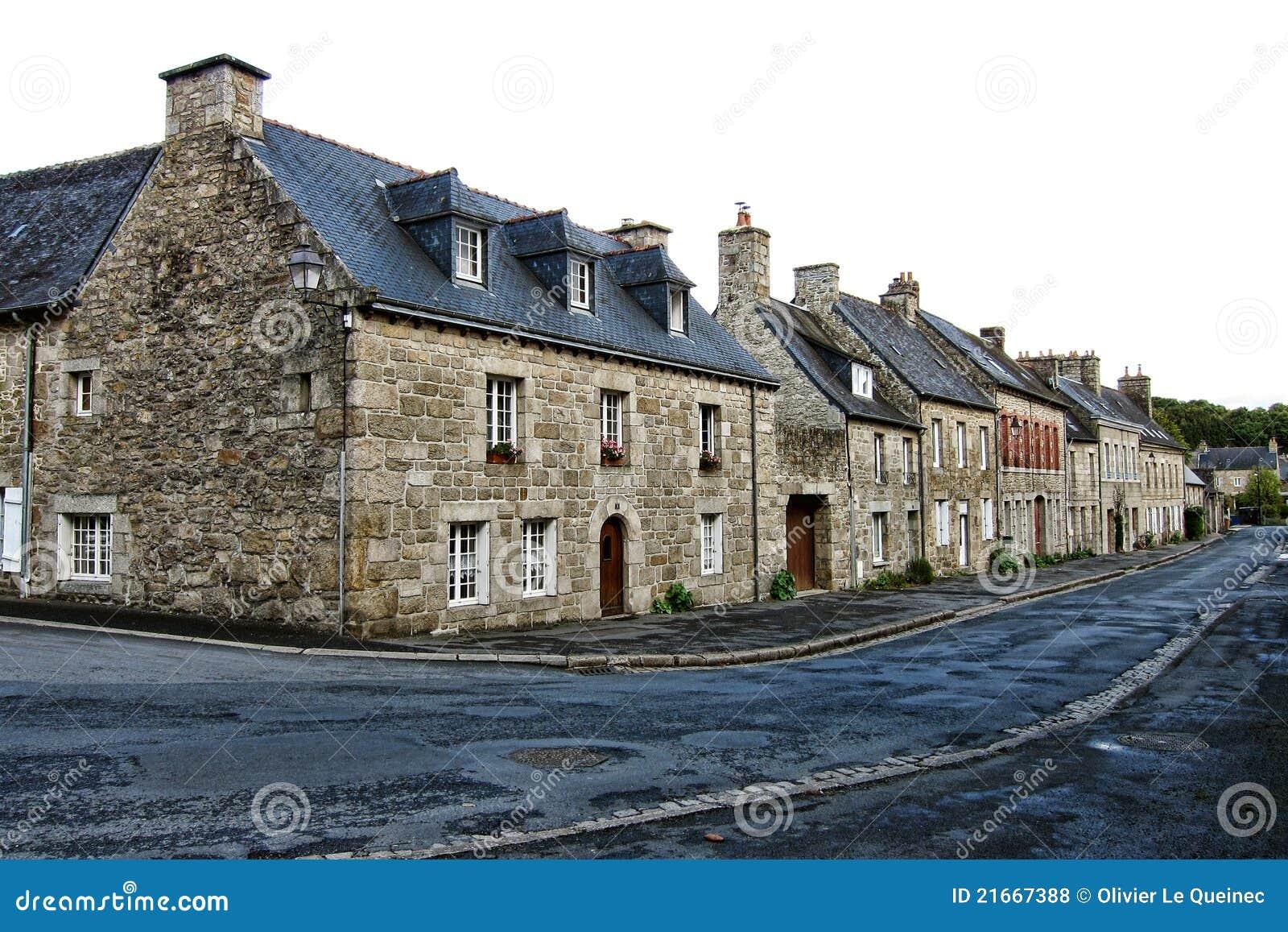 Oude Huizen op de Kleine Straat van de Stad in Bretagne Frankrijk