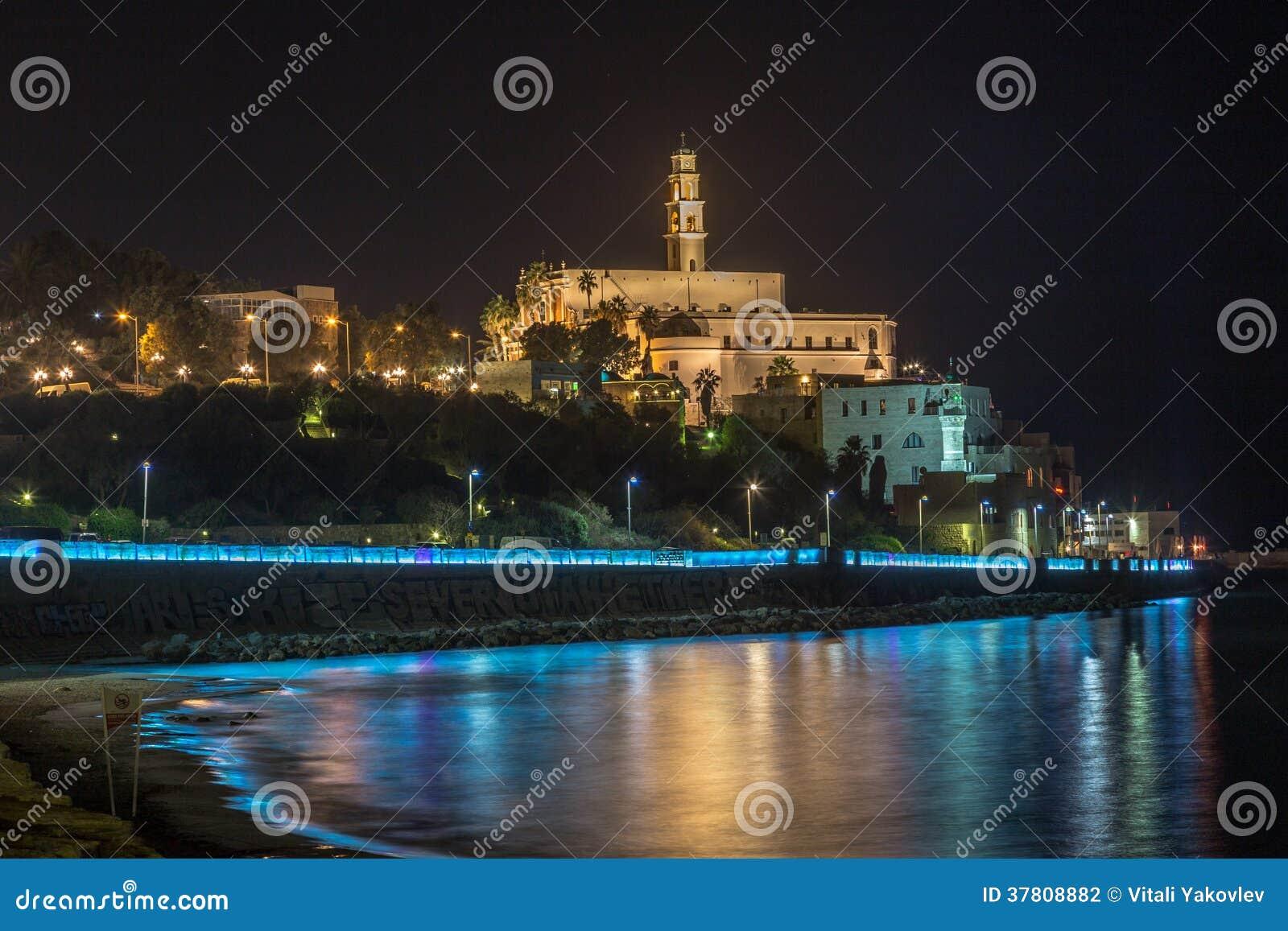 Oude Jaffa bij nacht. panorama Israël