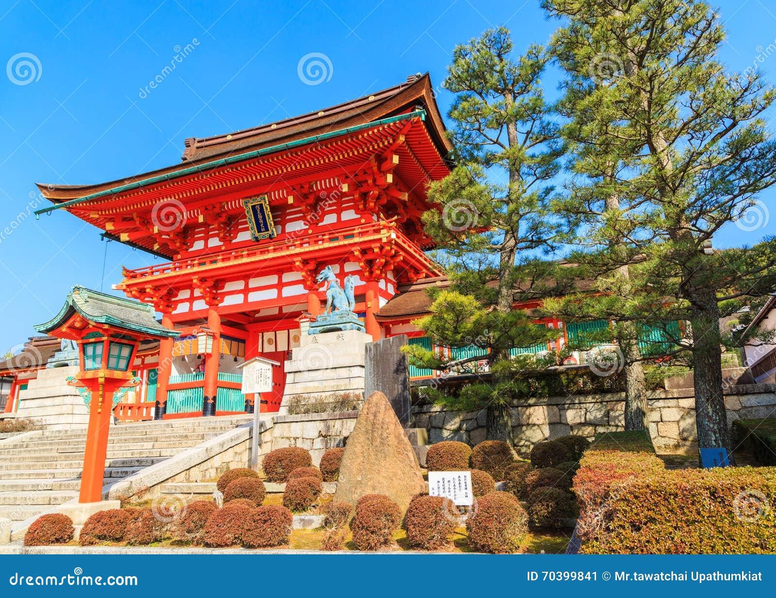 Oude Japanse houten poort en tuin met blauwe hemel, Kyoto, Japa