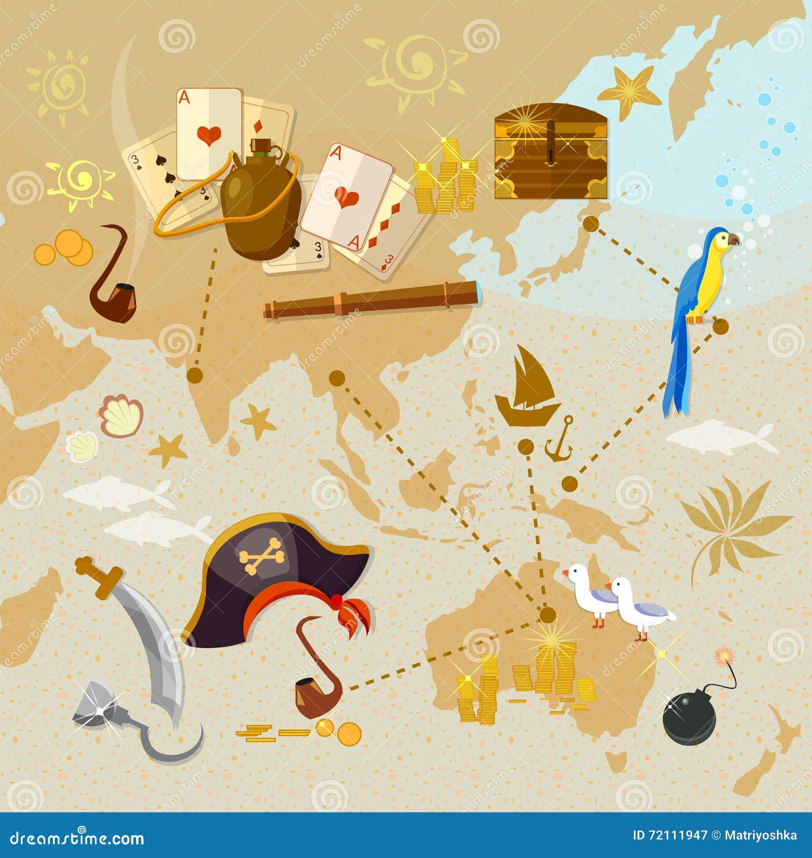 Oude kaart van het eiland van de piraatschat