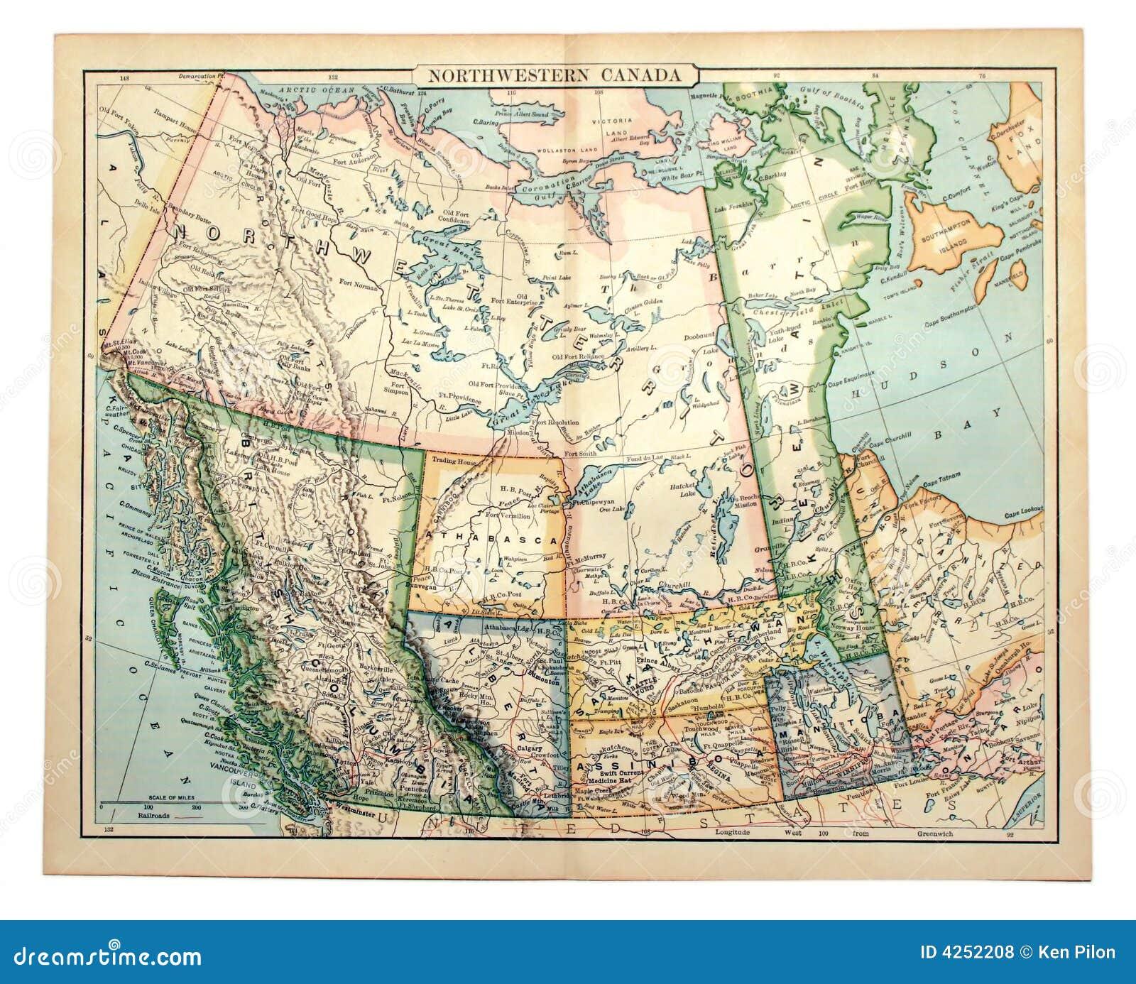 Oude Kaart van Westelijk Canada.