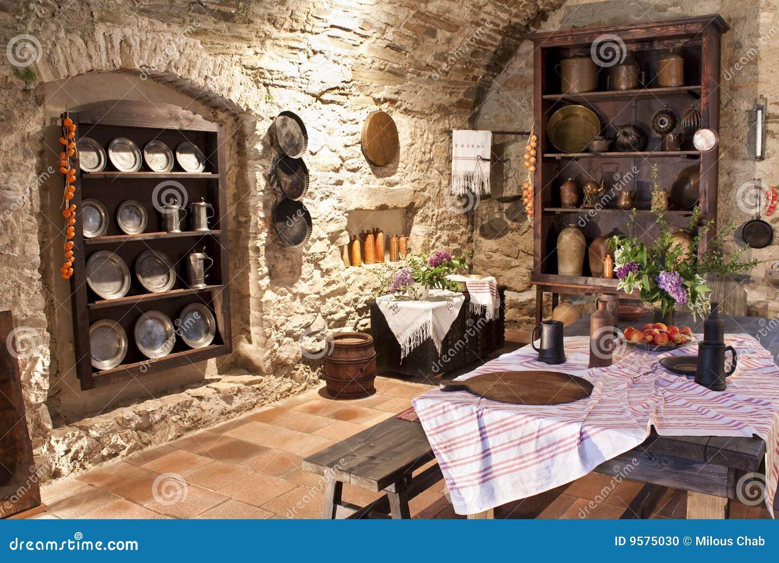 Voorraadkast Keuken Inhoud : Oude Keuken Stock Foto – Afbeelding: 9575030