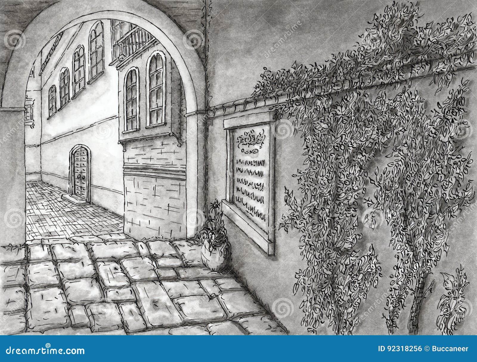 Oude Mediterrane bedekte steeg