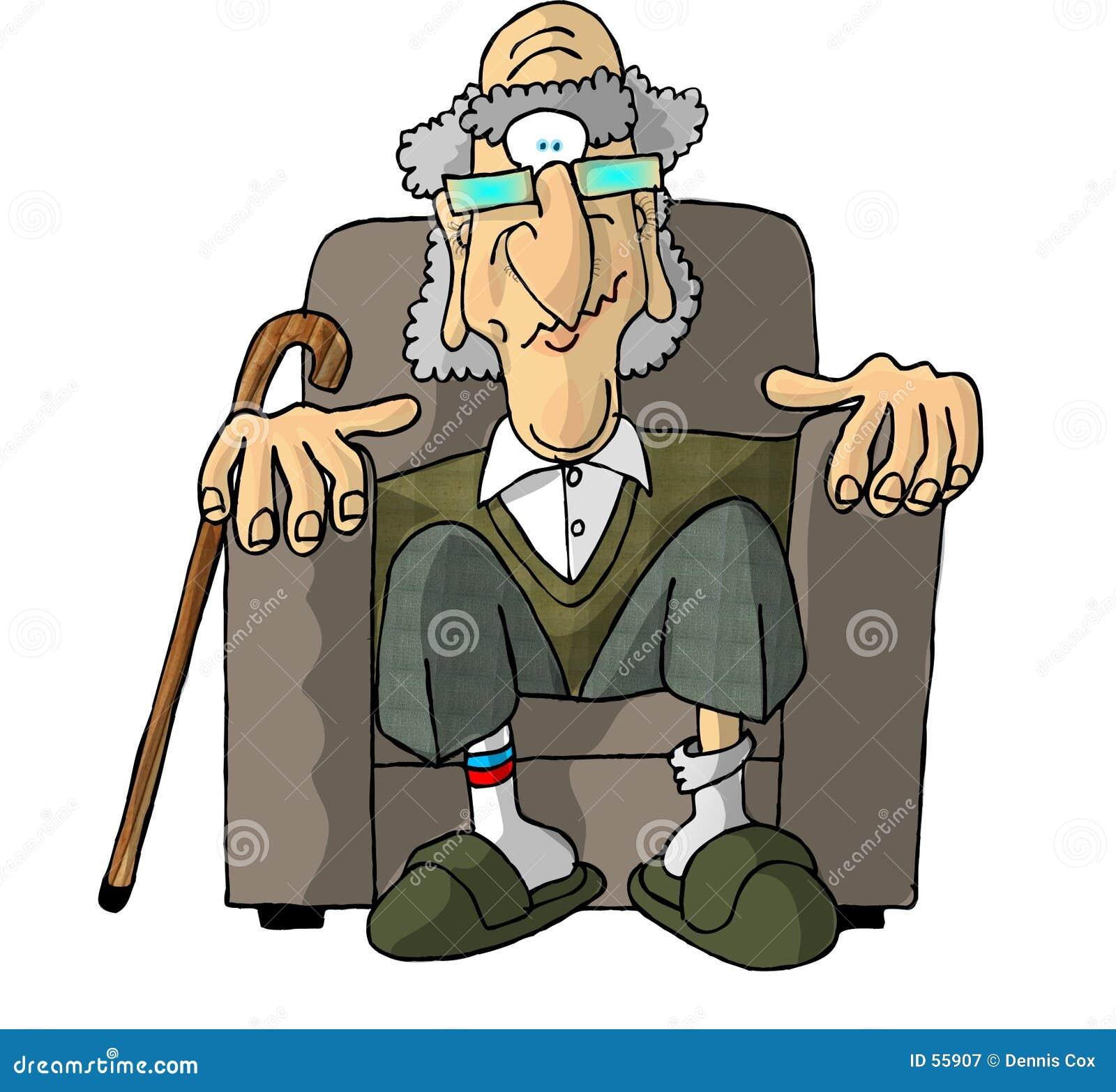 Oude mens in een leunstoel