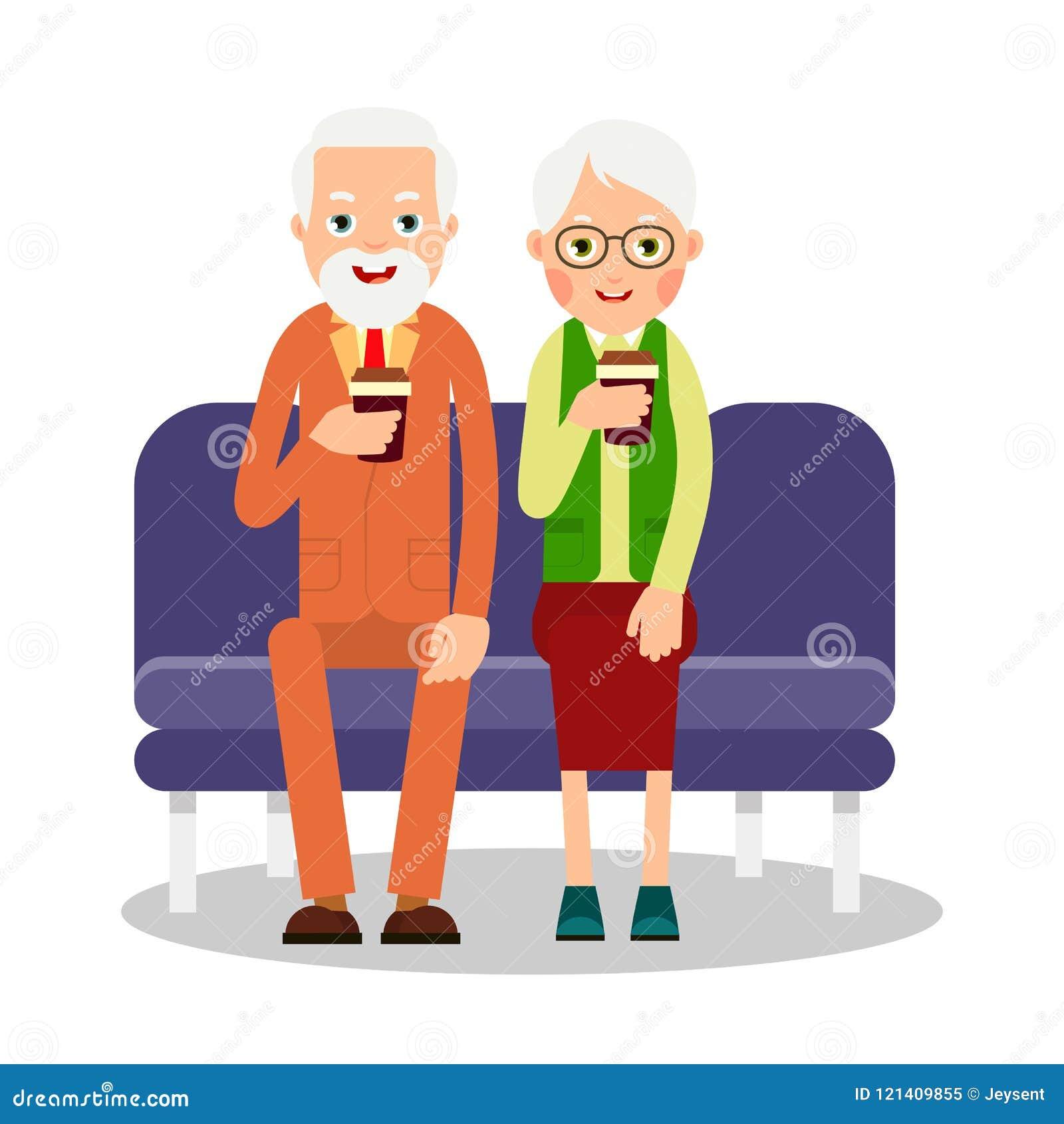 Oude mensen die koffie drinken Bejaarde personen, man en vrouwensitti
