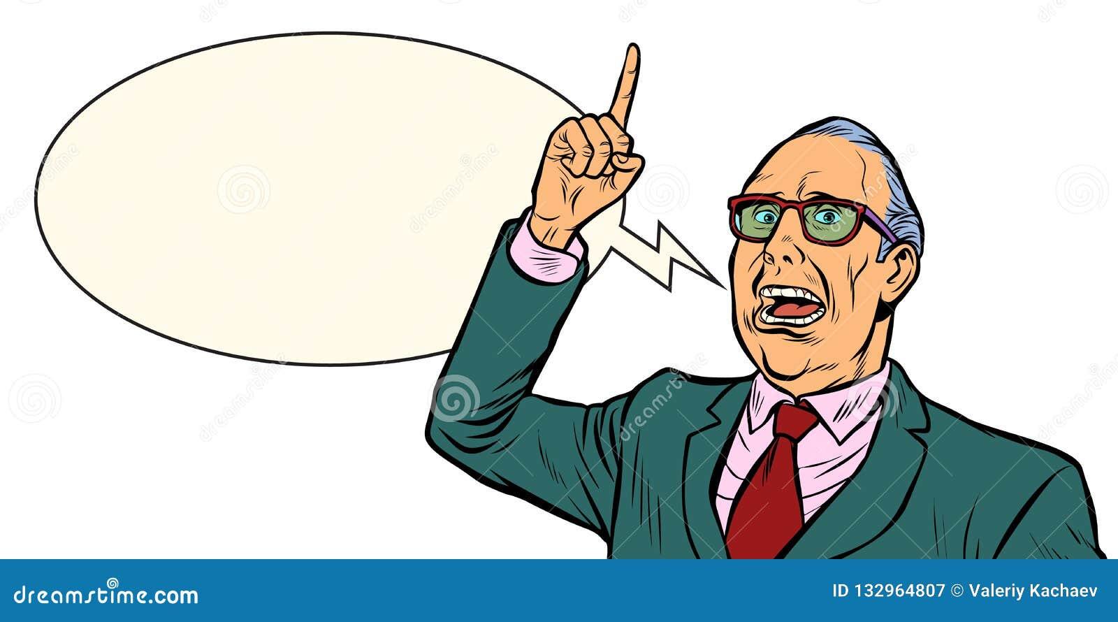 Oude mensen emotionele spreker Isoleer op witte achtergrond