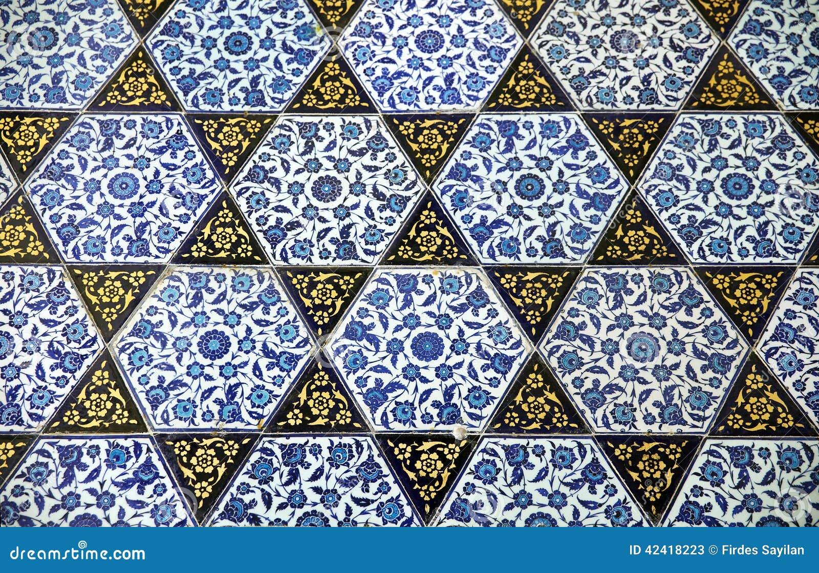 Oude met de hand gemaakte turkse tegels topkapi paleis stock foto afbeelding 42418223 - Oude patroon tegel ...