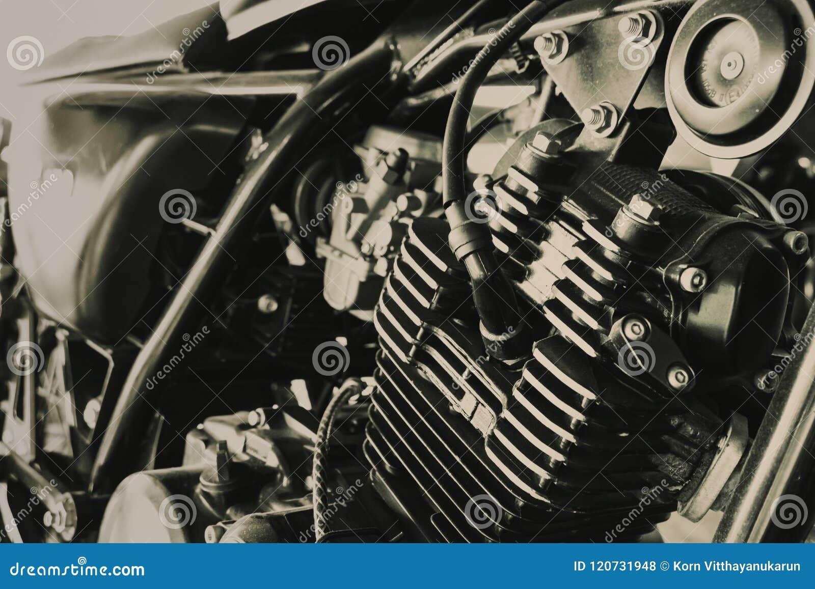Oude Motocycle-Motor van Bijl bruine uitstekende toon