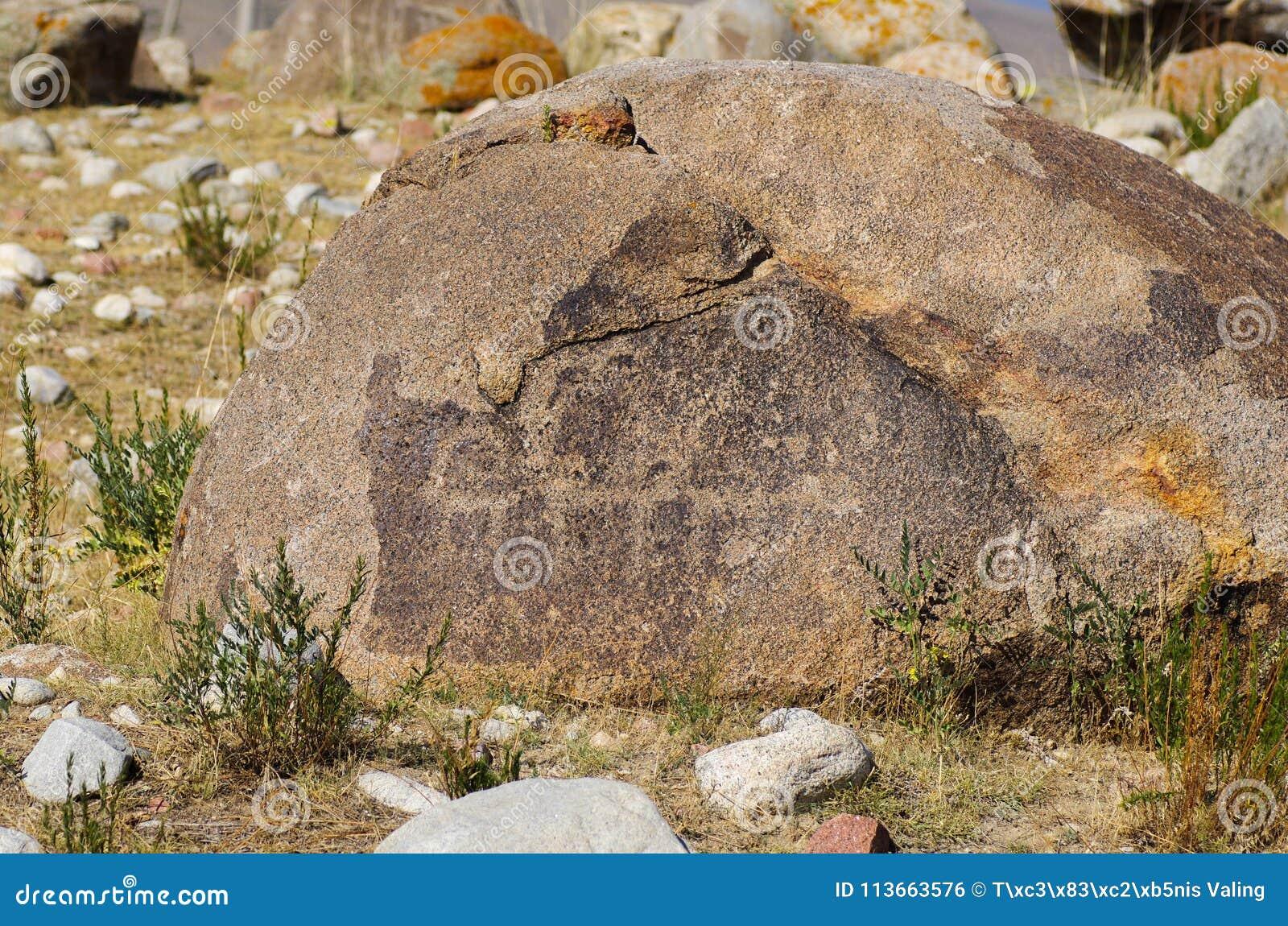 Oude plaats met historische rotstekeningen in Kyrgyzstan