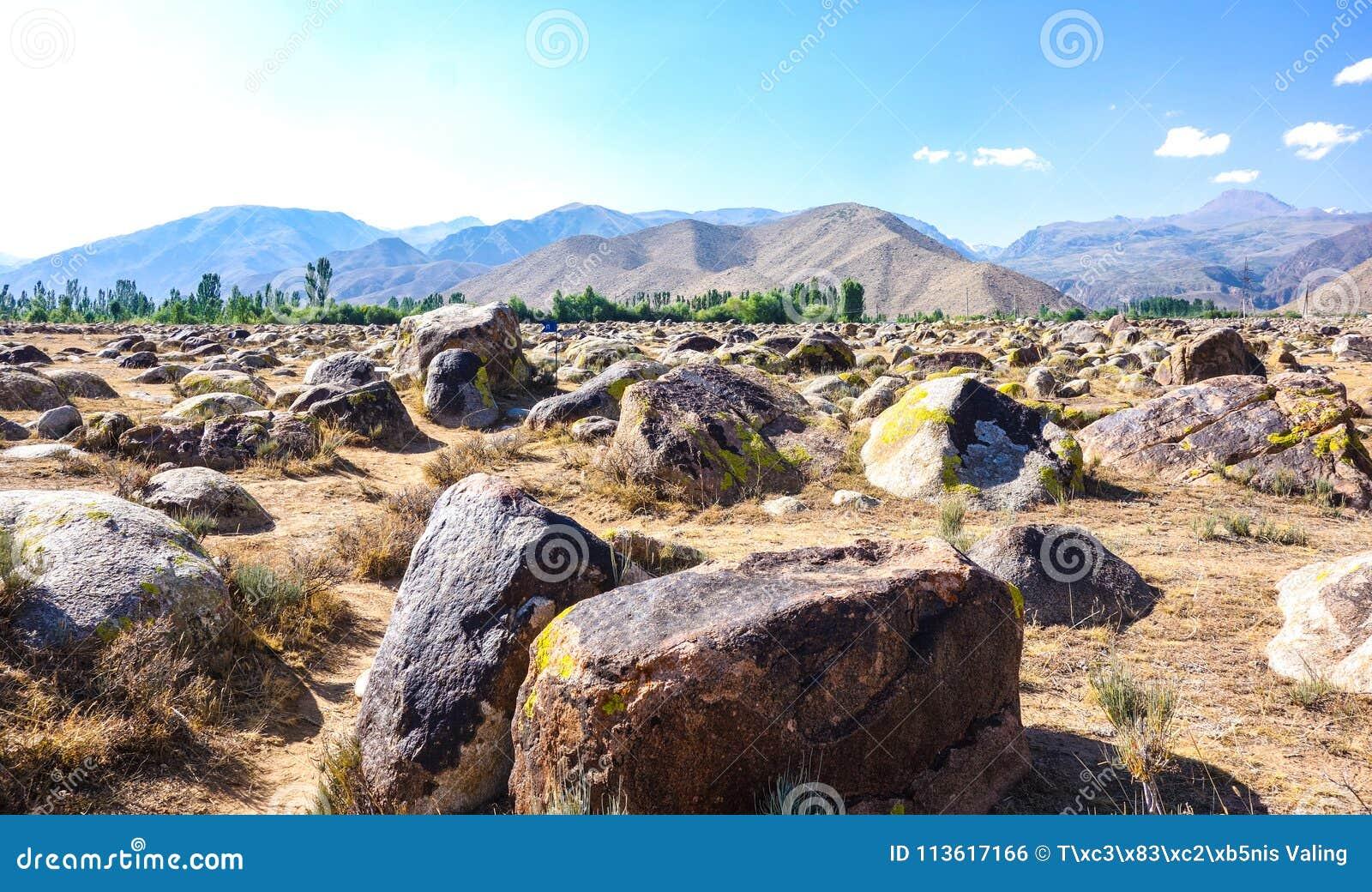 Oude plaats met rotstekeningen in Kyrgyzstan
