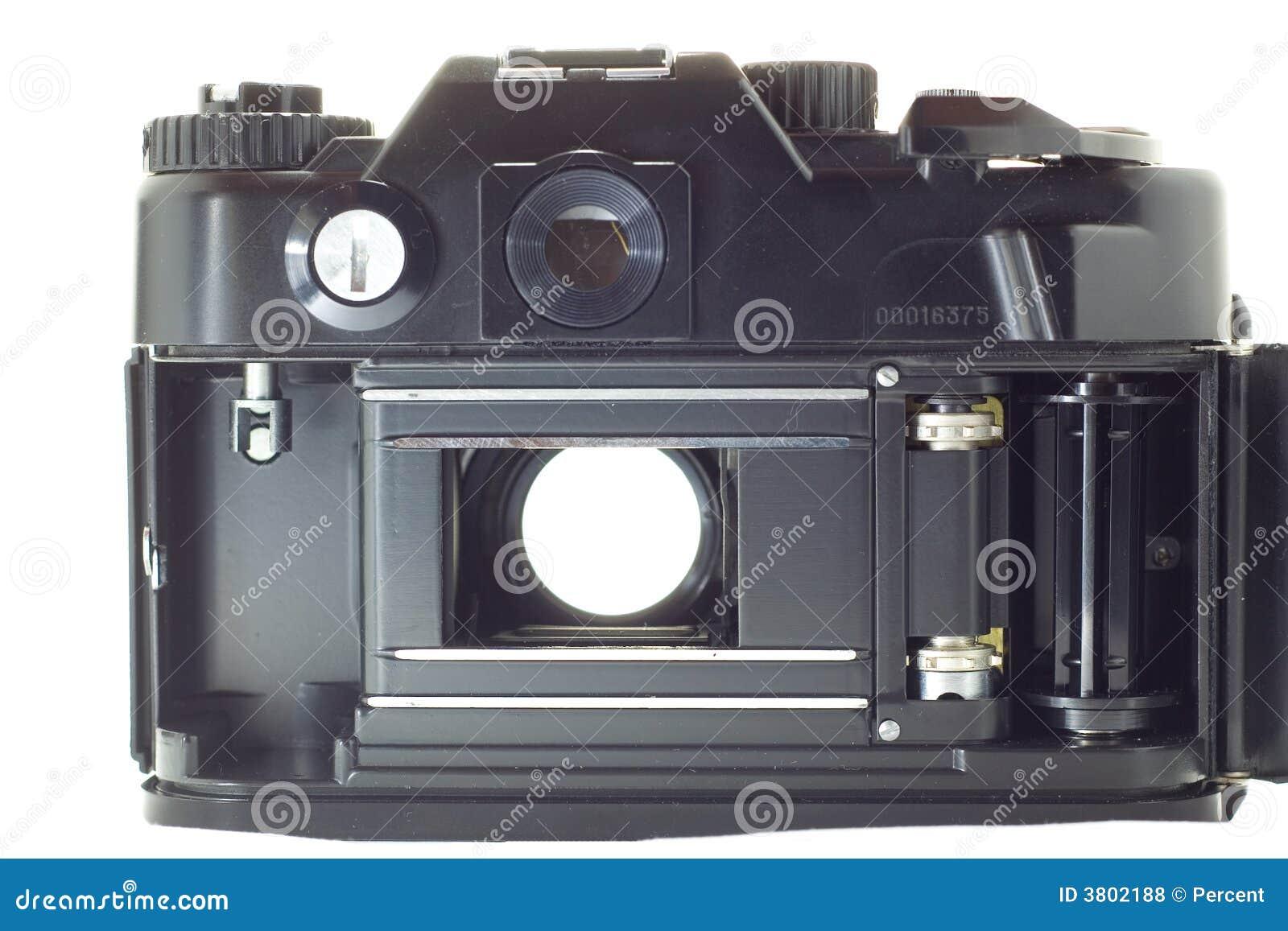 Oude reflexcamera met open blind