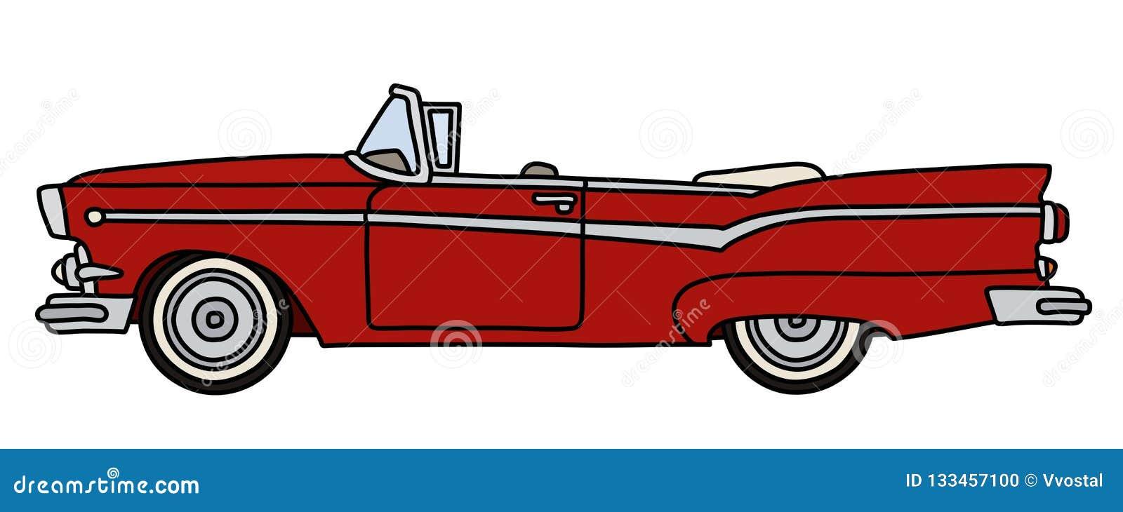 Oude rode Amerikaanse convertibel
