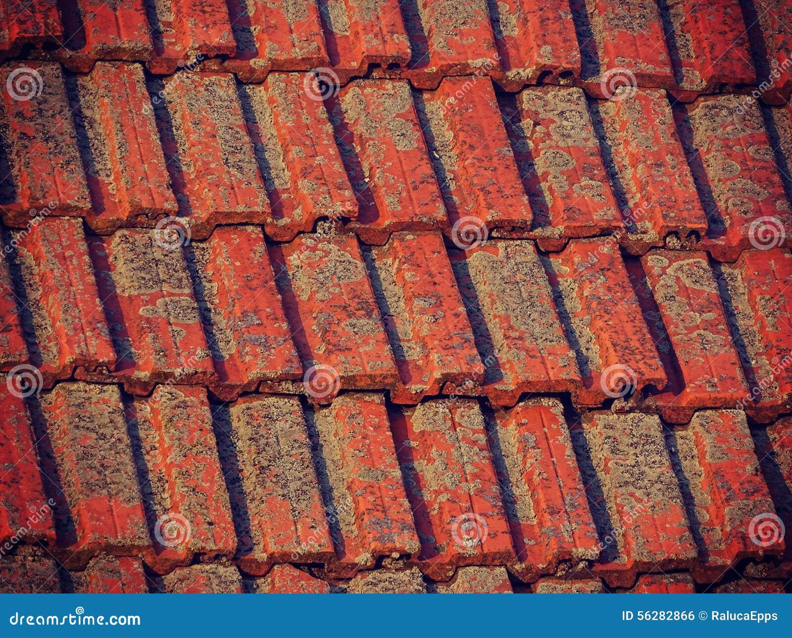Oude rode tegels op een huisdak stock foto afbeelding bestaande
