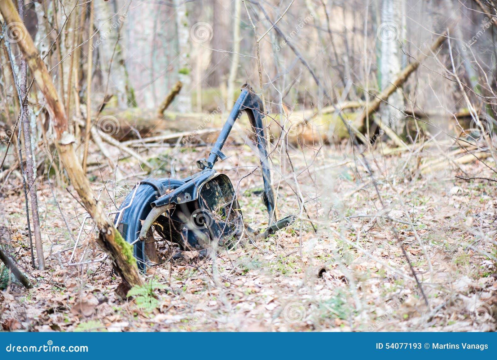 Oude roestige fiets in bos