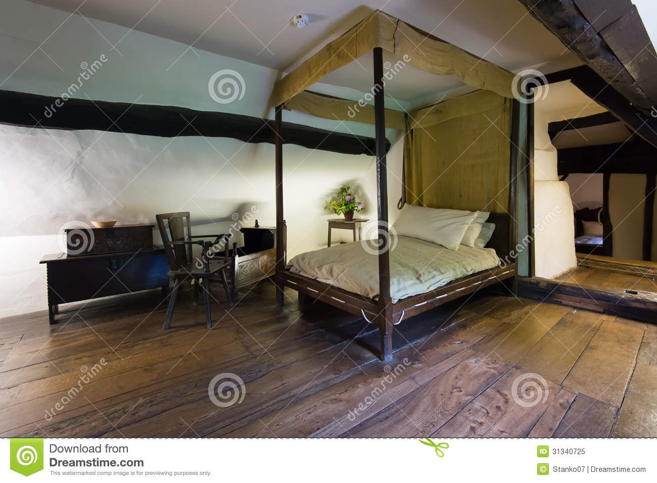 Slaapkamer Natuur : Bedroom Wooden Bed Old Ancient Medieval Cottage ...