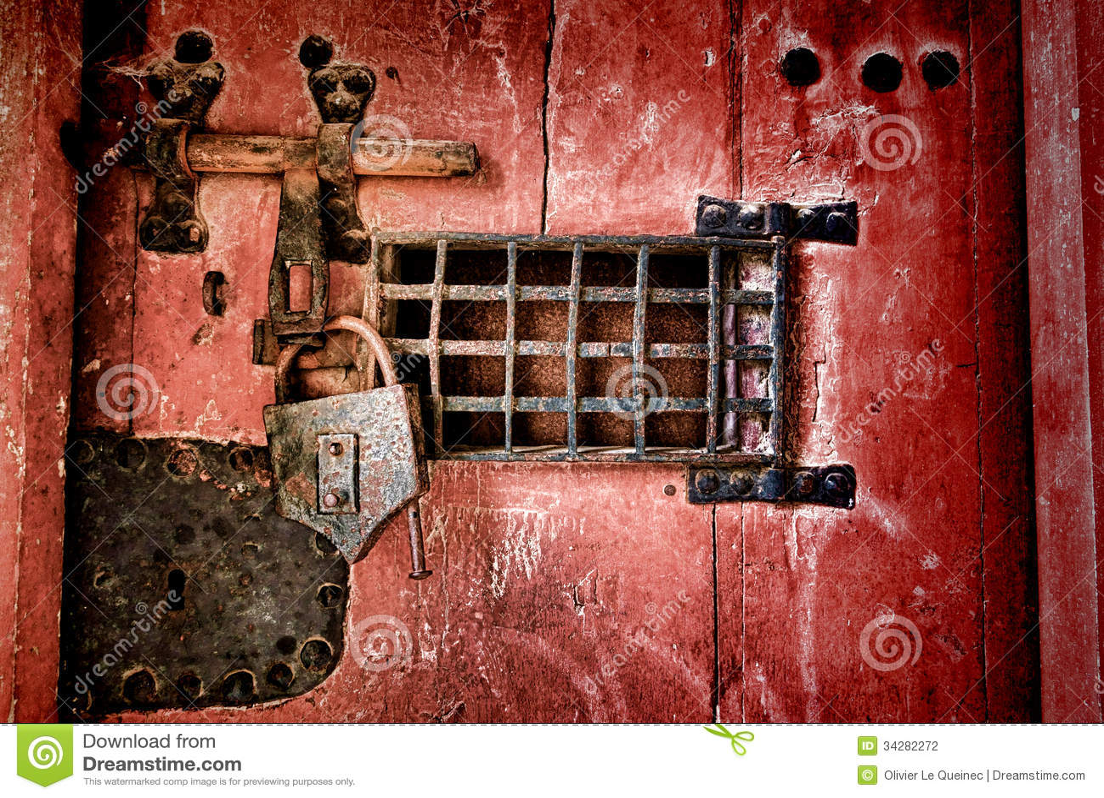 Oude Slot En Sluitenhardware Op Antieke Gevangenisdeur