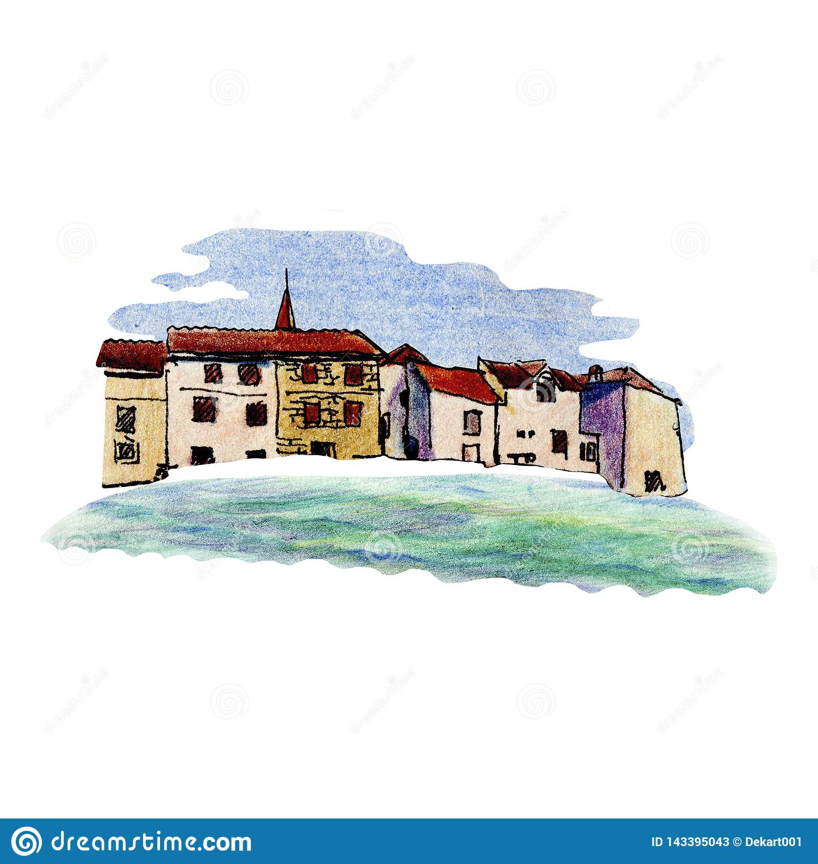 Oude stad in Kroatië in schetsstijl en geïsoleerd op witte achtergrond, kleurrijk potlood