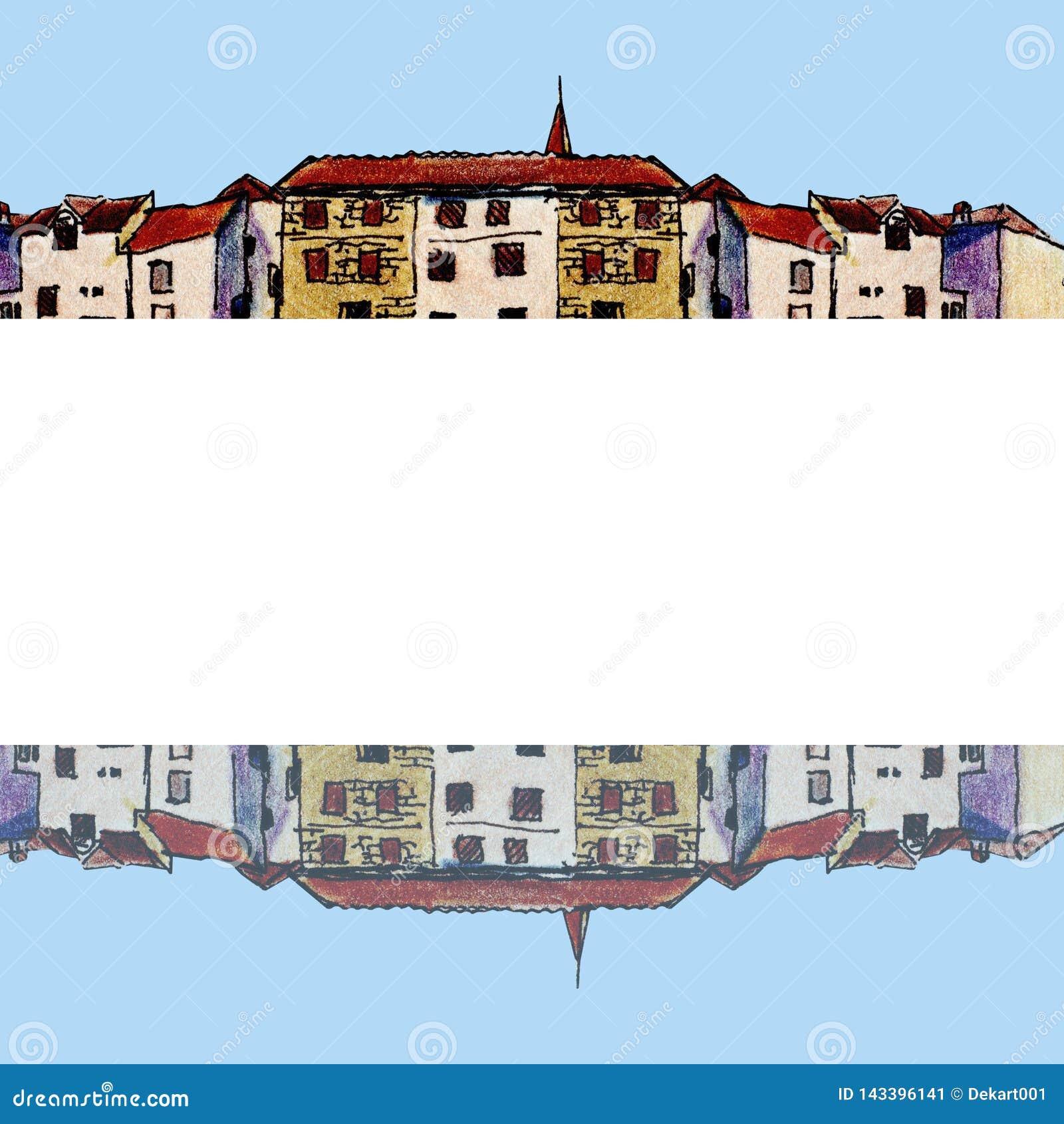 Oude stad in schetsstijl en geïsoleerd op witte achtergrond, kleurrijk potlood