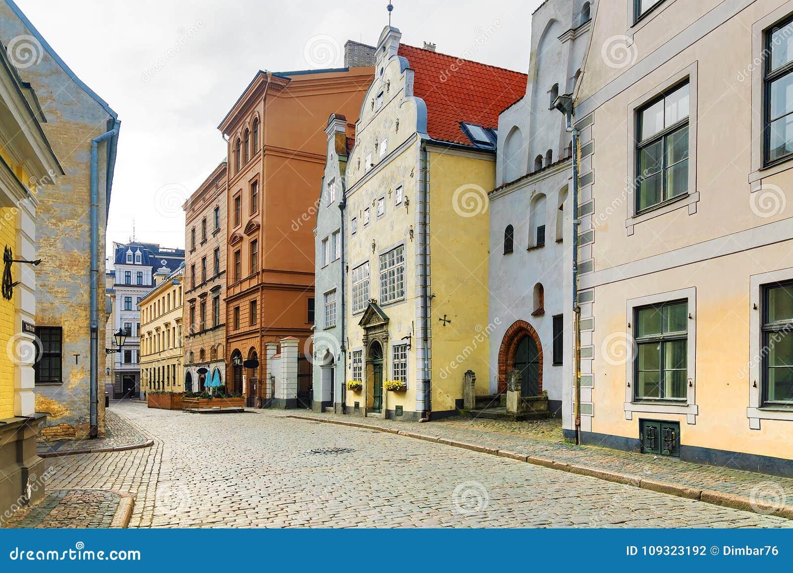 Oude straten van Riga in Letland