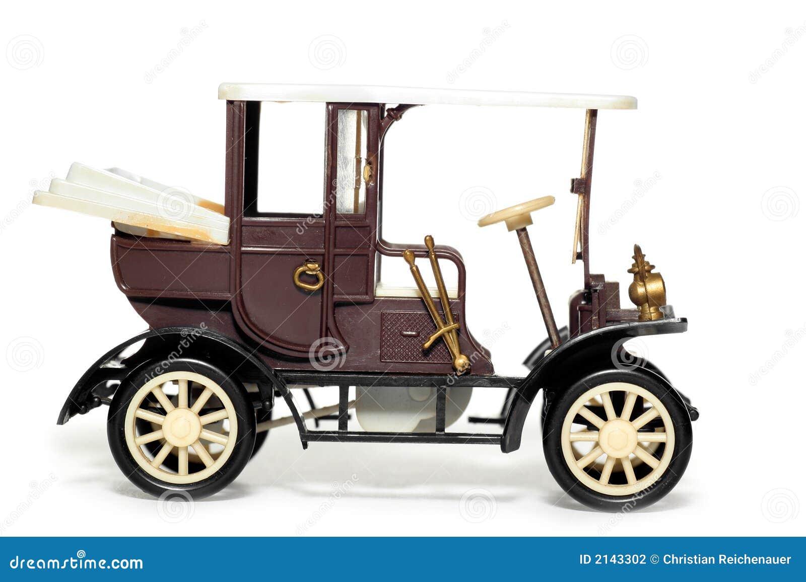 Oude Stuk Speelgoed Auto Velox Praag 1900 Stock Foto