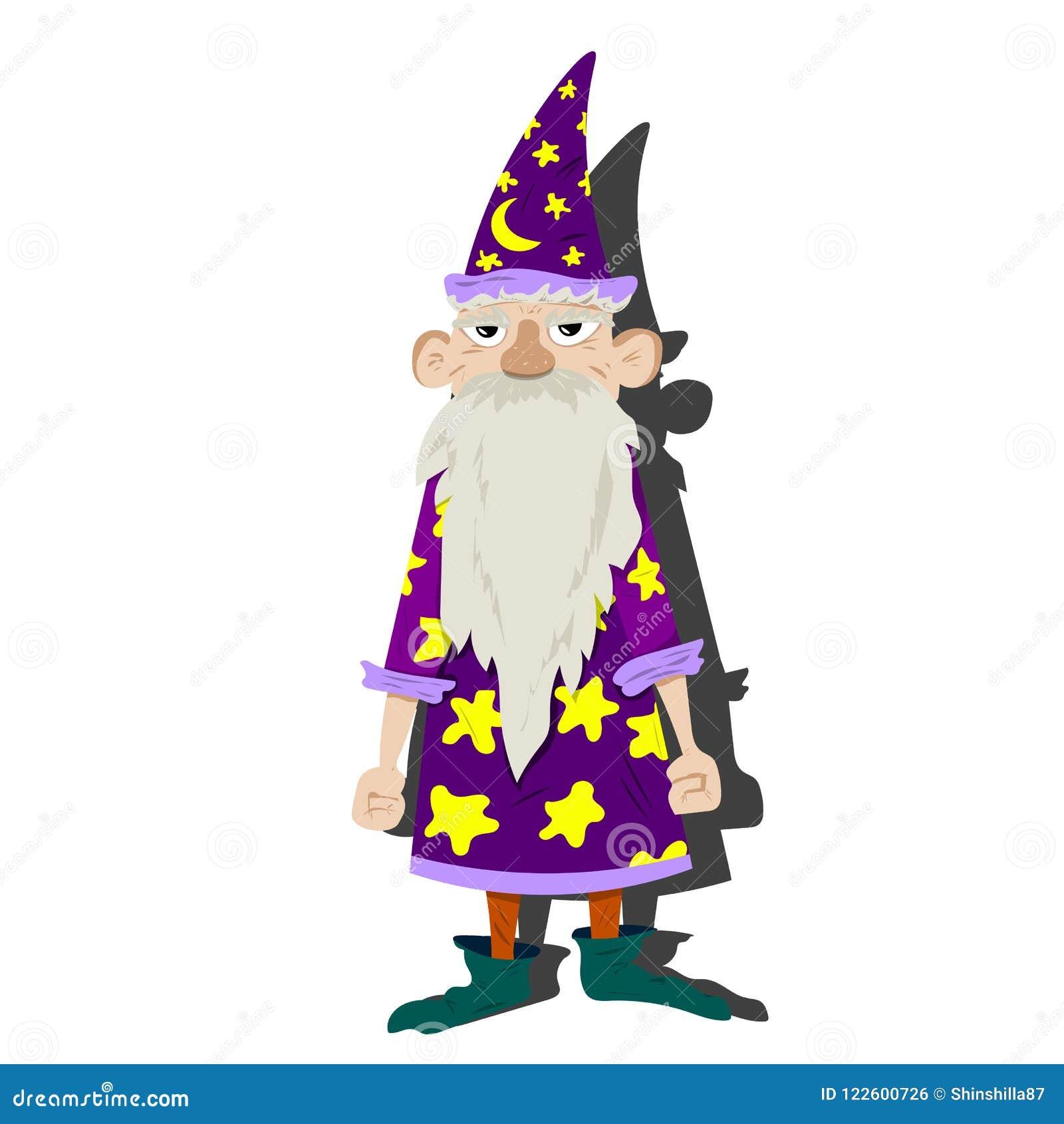 Oude tovenaar-astroloog met een hoed en een mantel
