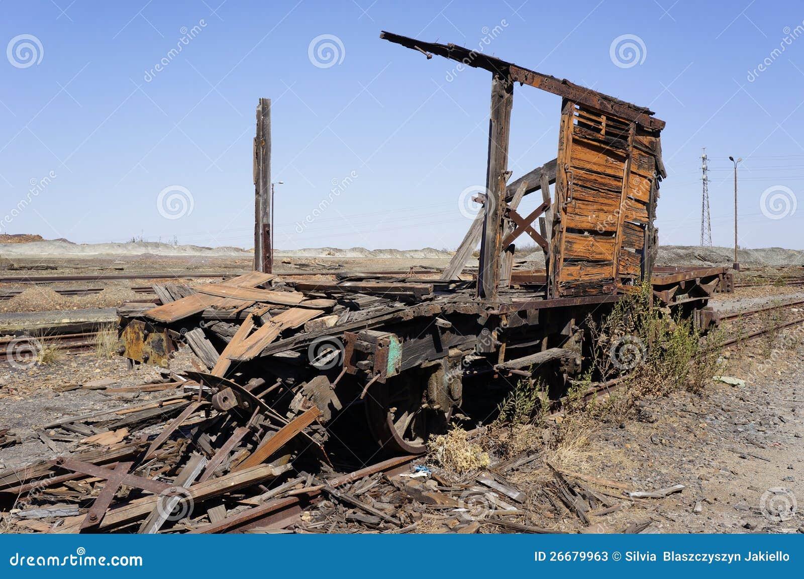 Oude treinen in mijnen Tharsis