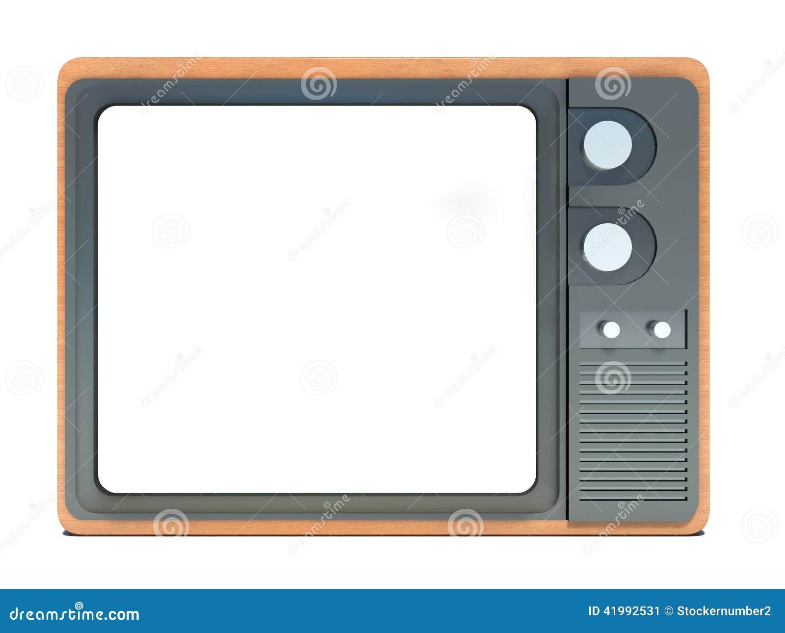 Oude tv met het wit scherm stock illustratie afbeelding 41992531 - Wit scherm ...