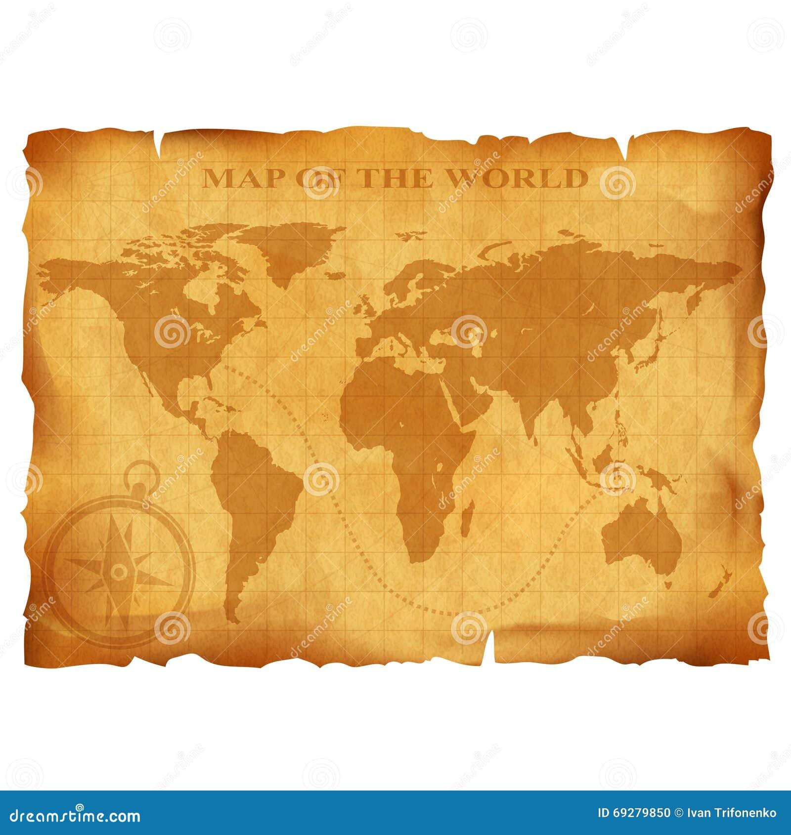 Oude uitstekende wereldkaart Oud Manuscript Het document van Grunge textuur