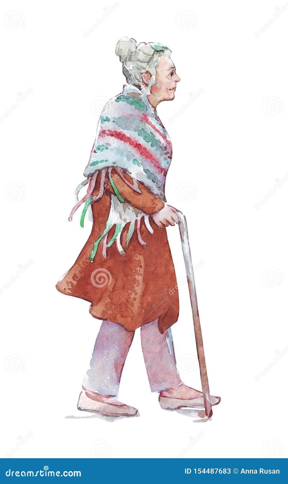 Oude vrouw die met een stok lopen
