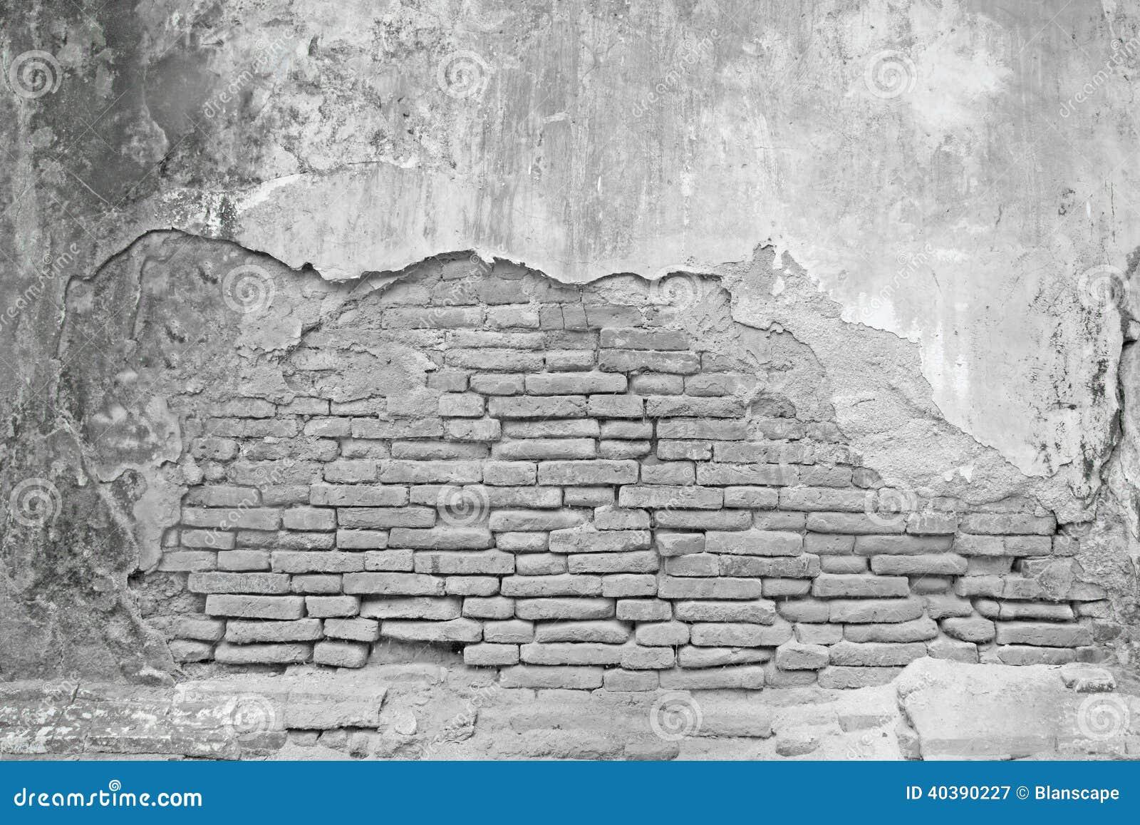 Oude Witte Bakstenen Muur Met Gebarsten Beton Stock Foto   Afbeelding  40390227