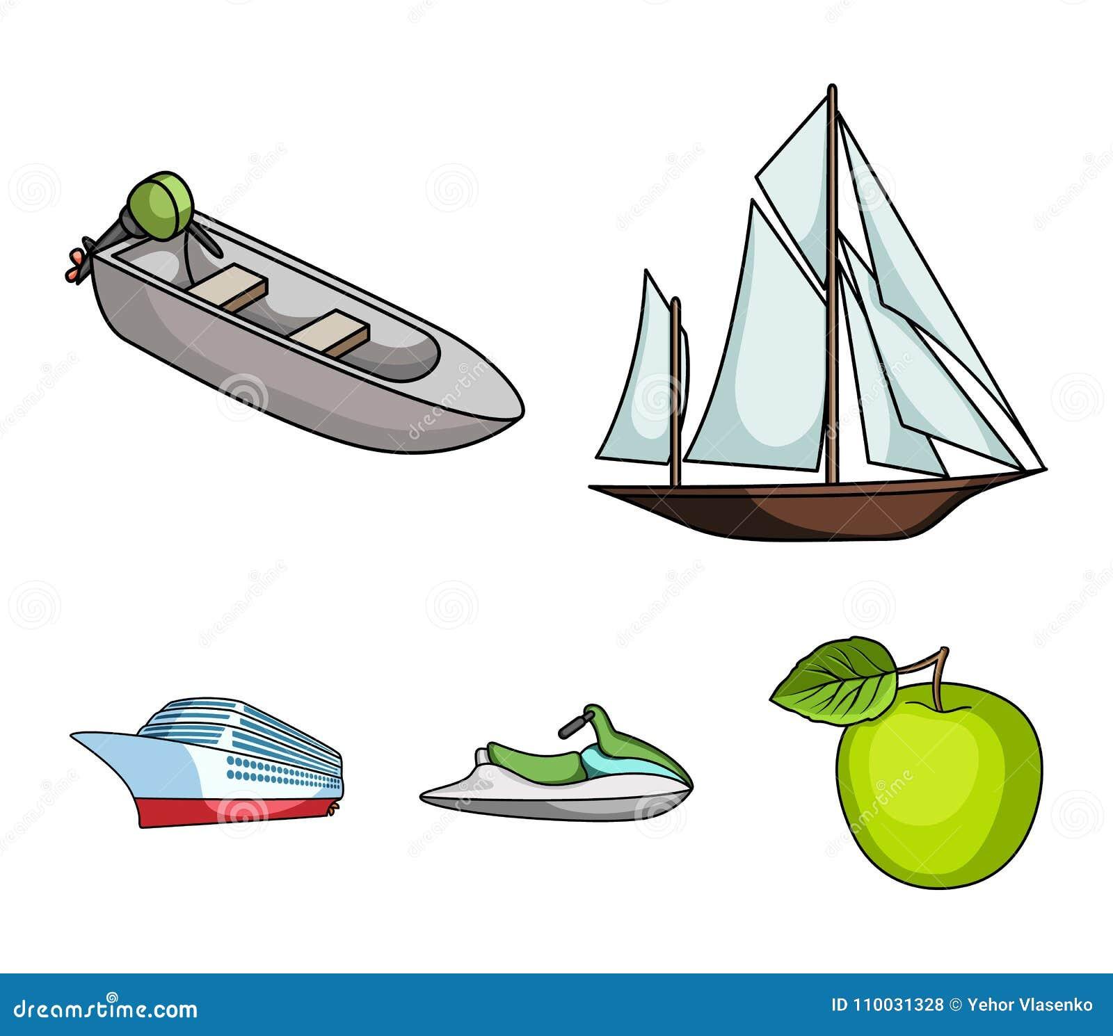 Oude zeilboot, motorboot, autoped, mariene voering Schepen en vastgestelde de inzamelingspictogrammen van het watervervoer in bee