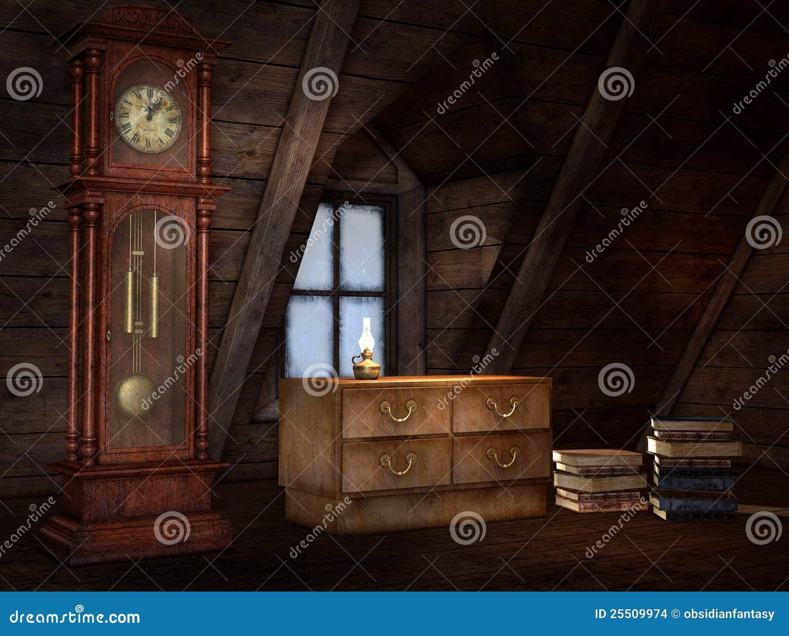 Oude zolder met een klok