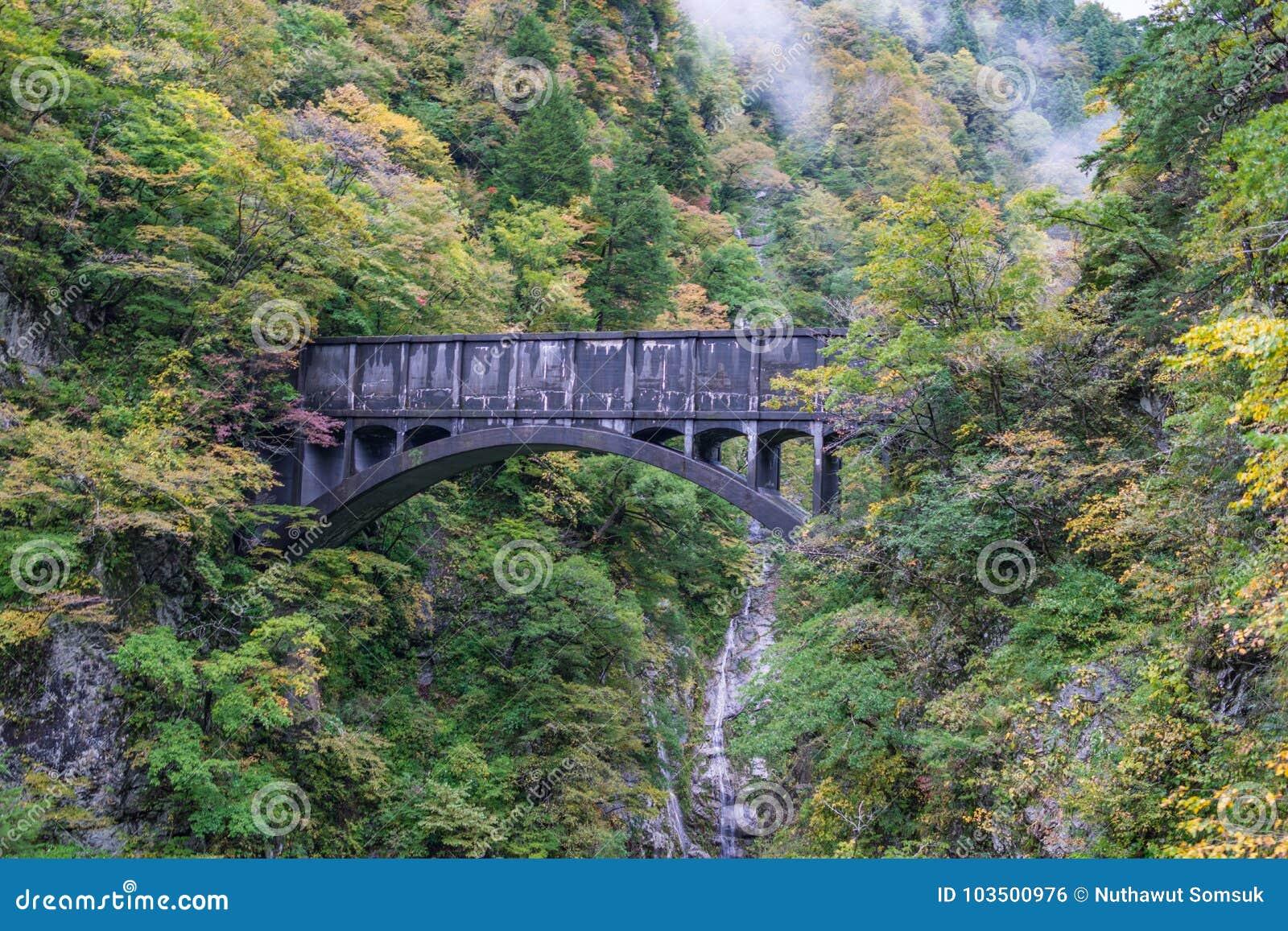 Oude zwarte brug voor trein op klip met kleurrijke sinaasappel en ye