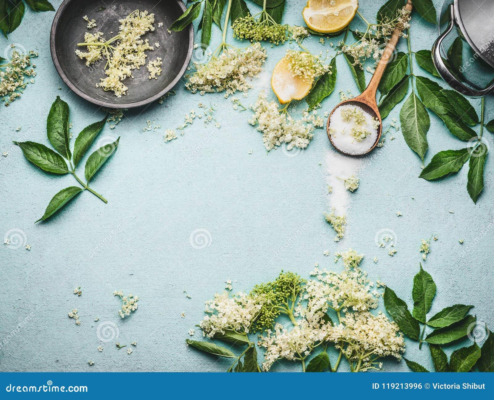 Oudere bloemen die voorbereiding koken Oudere bloemen met lepel, suiker en citroen op blauwe lijstachtergrond