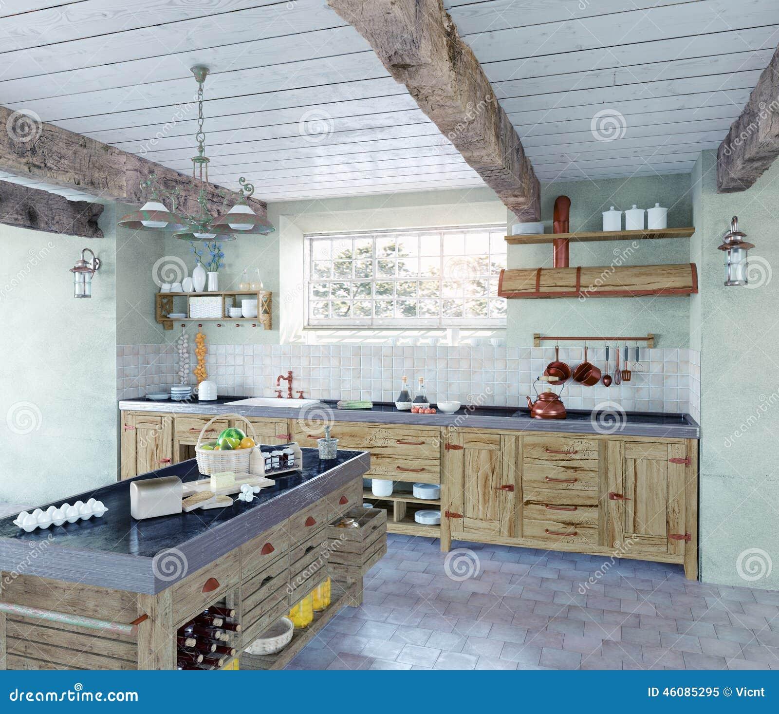 Ouderwetse keuken stock illustratie afbeelding bestaande uit keuken 46085295 - Deco keuken oud land ...