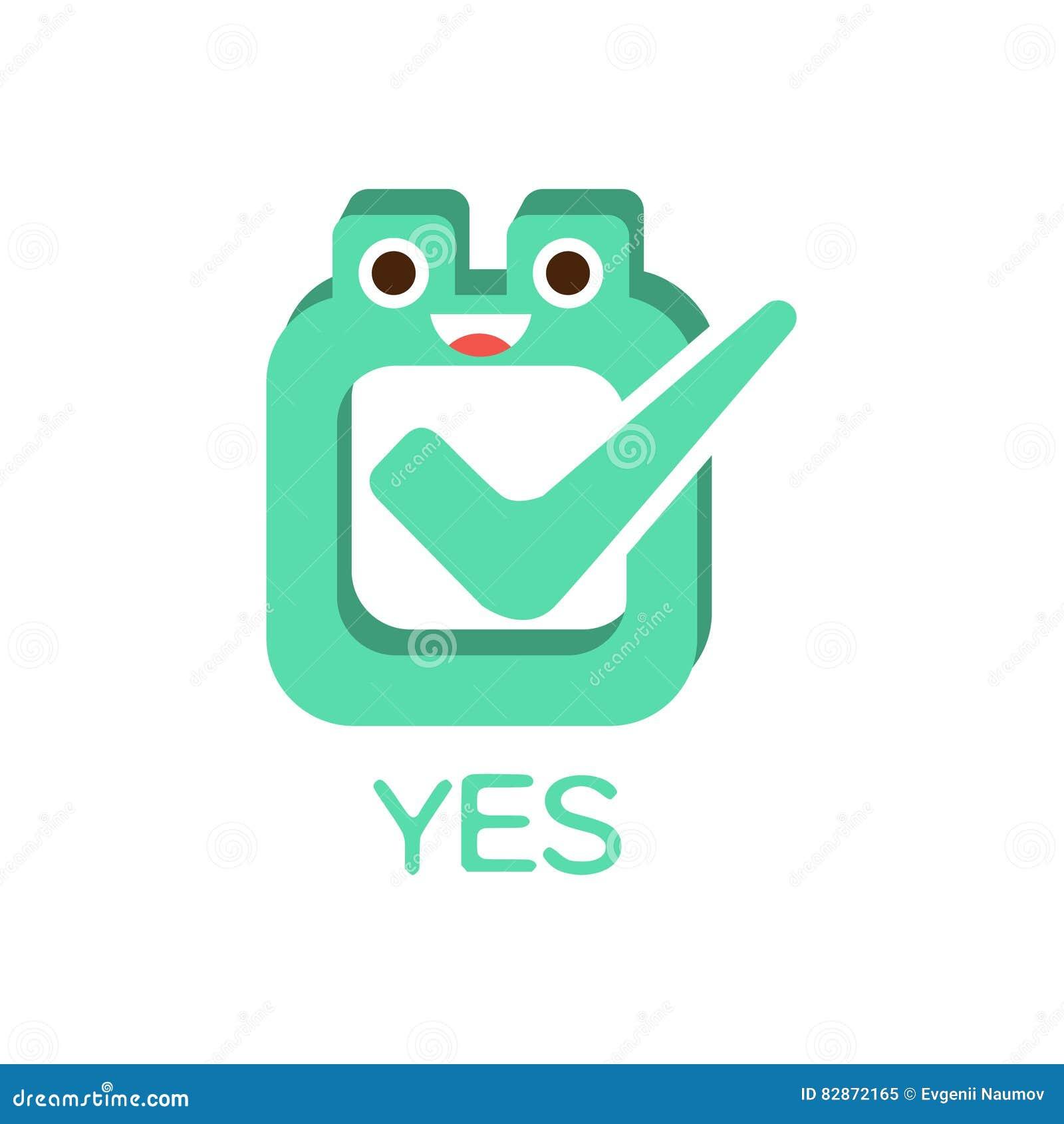oui vote et bote word et illustration correspondante personnage de dessin anim emoji avec