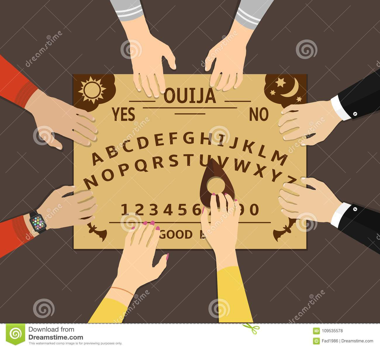 Ouija Deskowy Bawić się Grupa ludzi komunikuje z duchami przez sprawy duchowe deski ouija