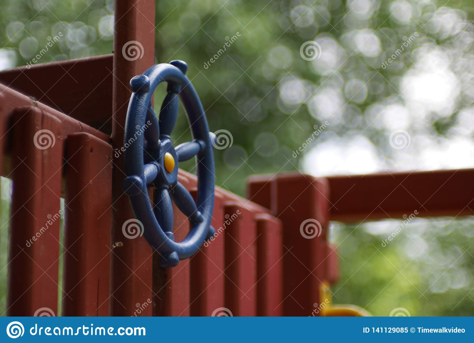Blue Steering Wheel on Child`s Play Fort