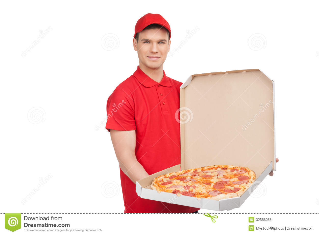Our best pizza for you young cheerful pizza man holding an open royalty free stock image