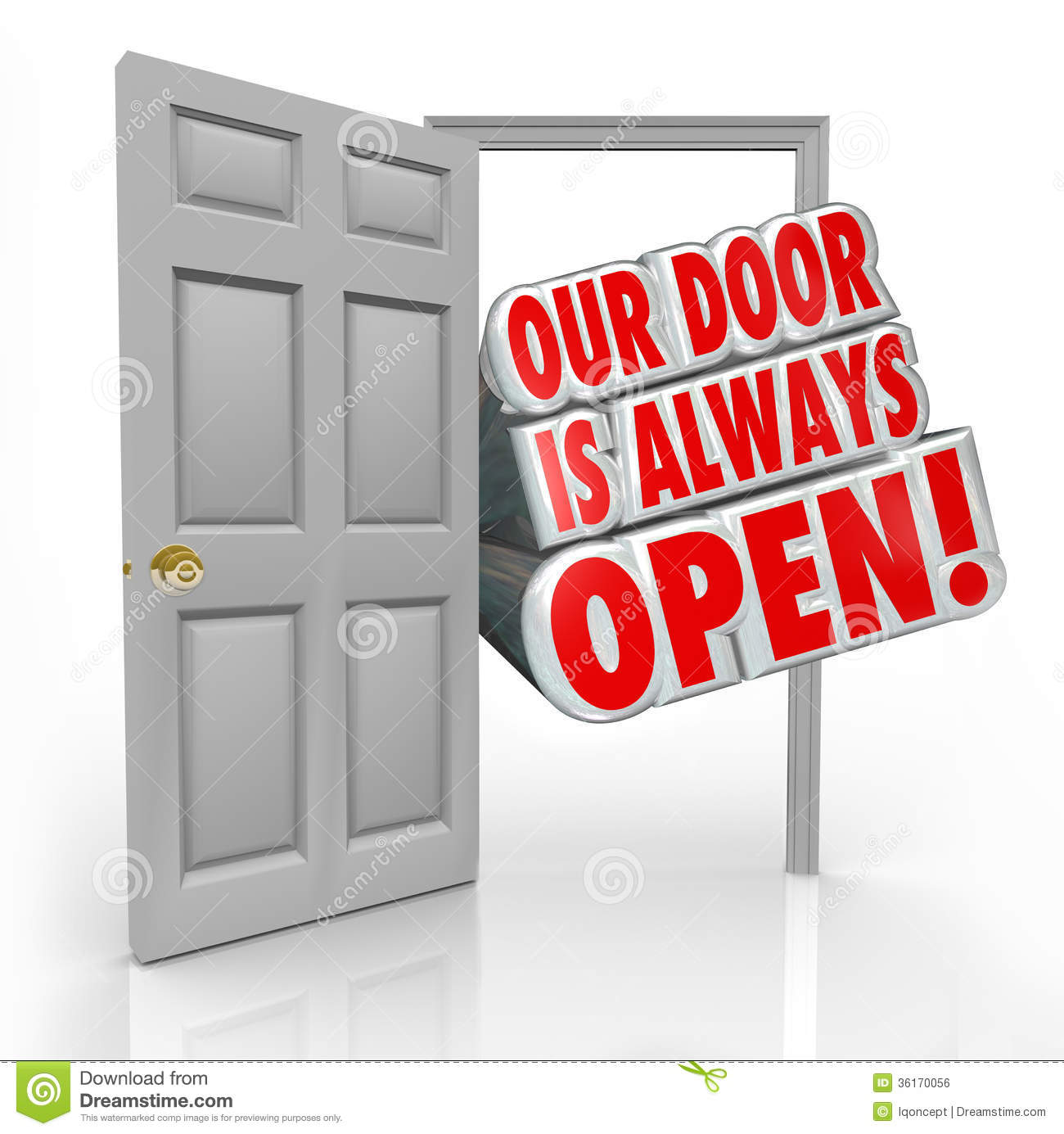 Open Store Doors our door is always open invitation welcome inside royalty free
