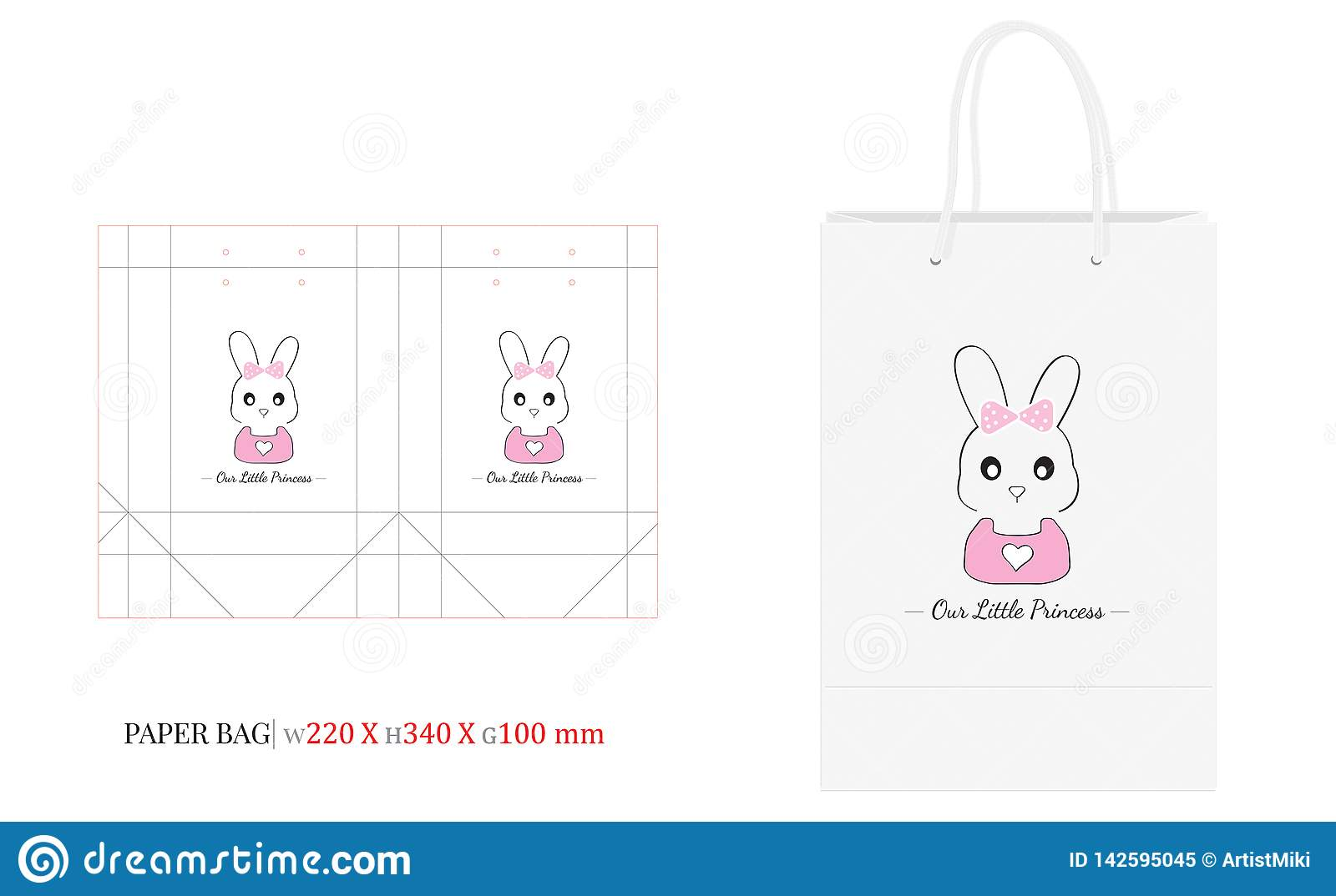 PAPER BAG Template. Vector with die cut / laser cut lines. Happy Birthday Girl
