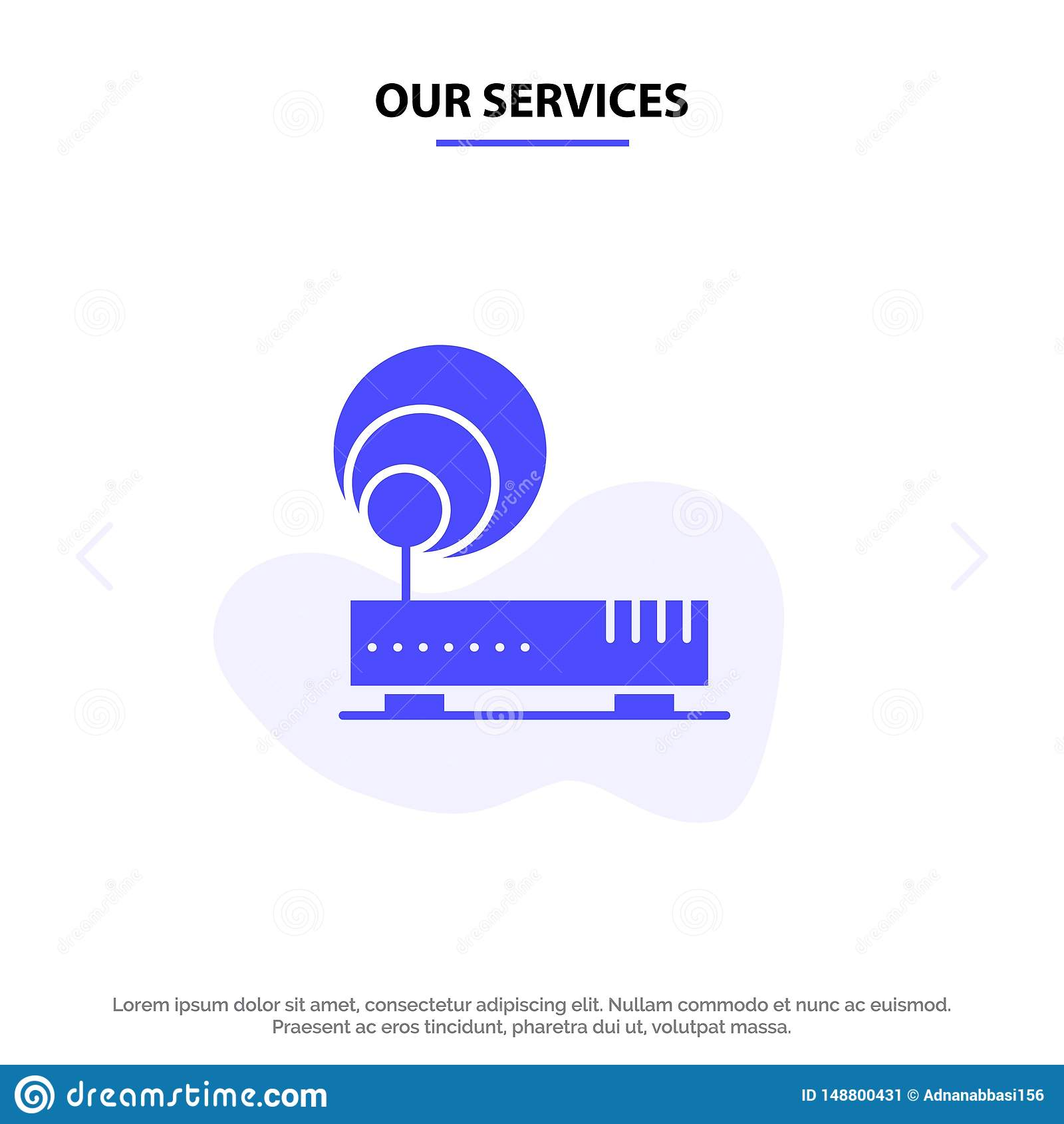 Our Services Connection, Hardware, Internet, Network Solid Glyph Icon Web card Template