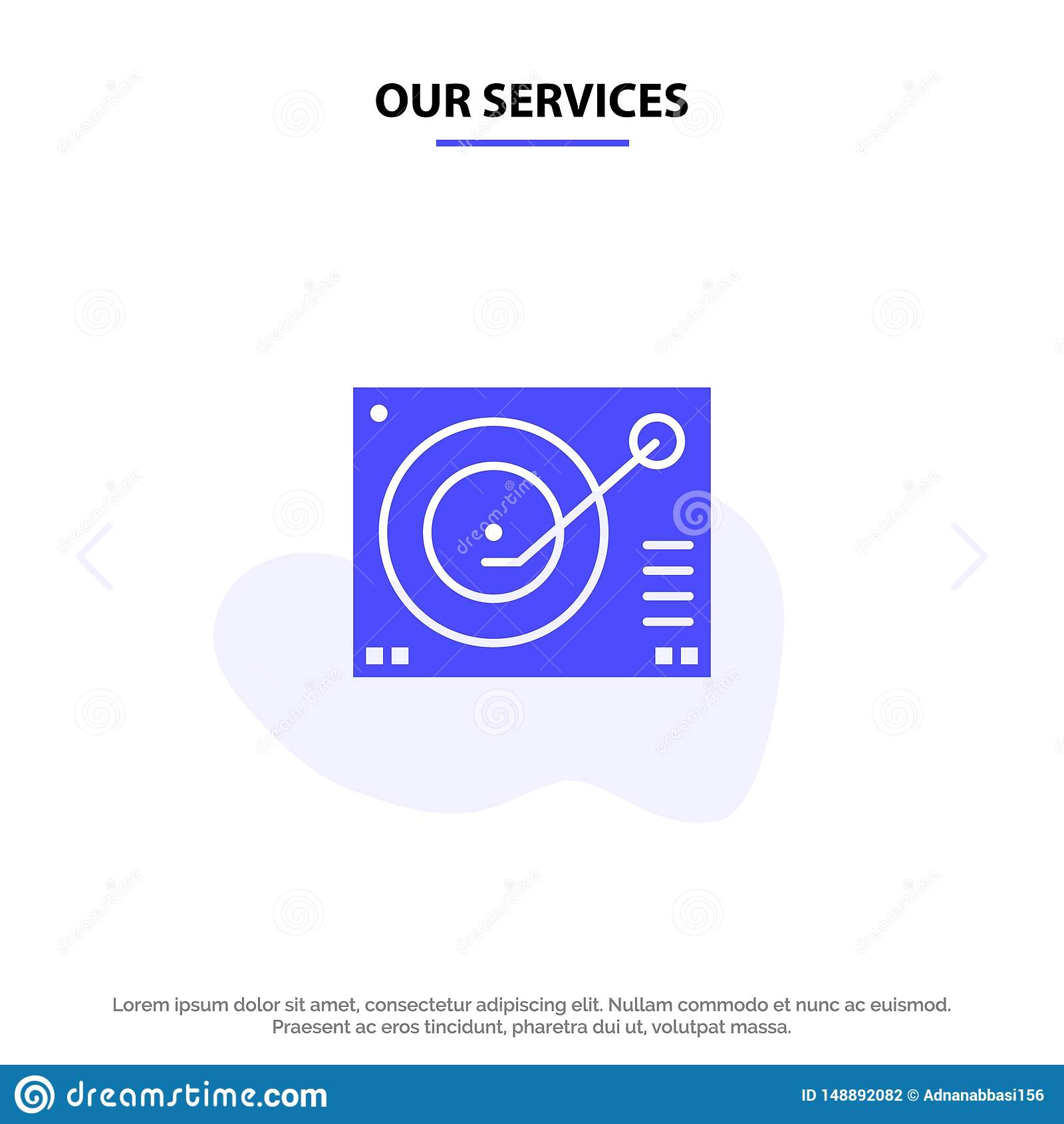Our Services Deck, Device, Phonograph, Player, Record Solid Glyph Icon Web card Template