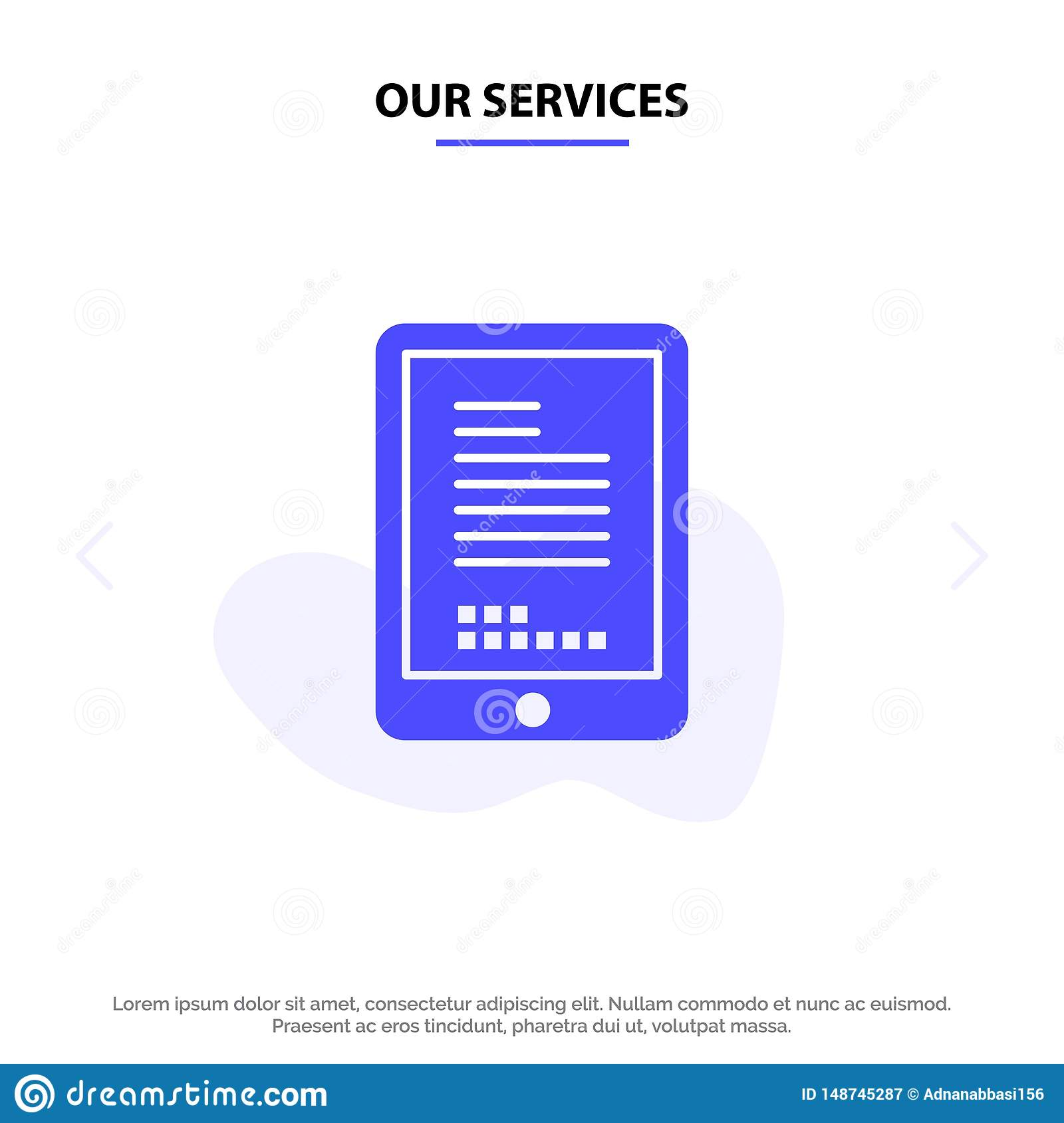 Our Services Mobile, Coding, Hardware, Cell Solid Glyph Icon Web card Template