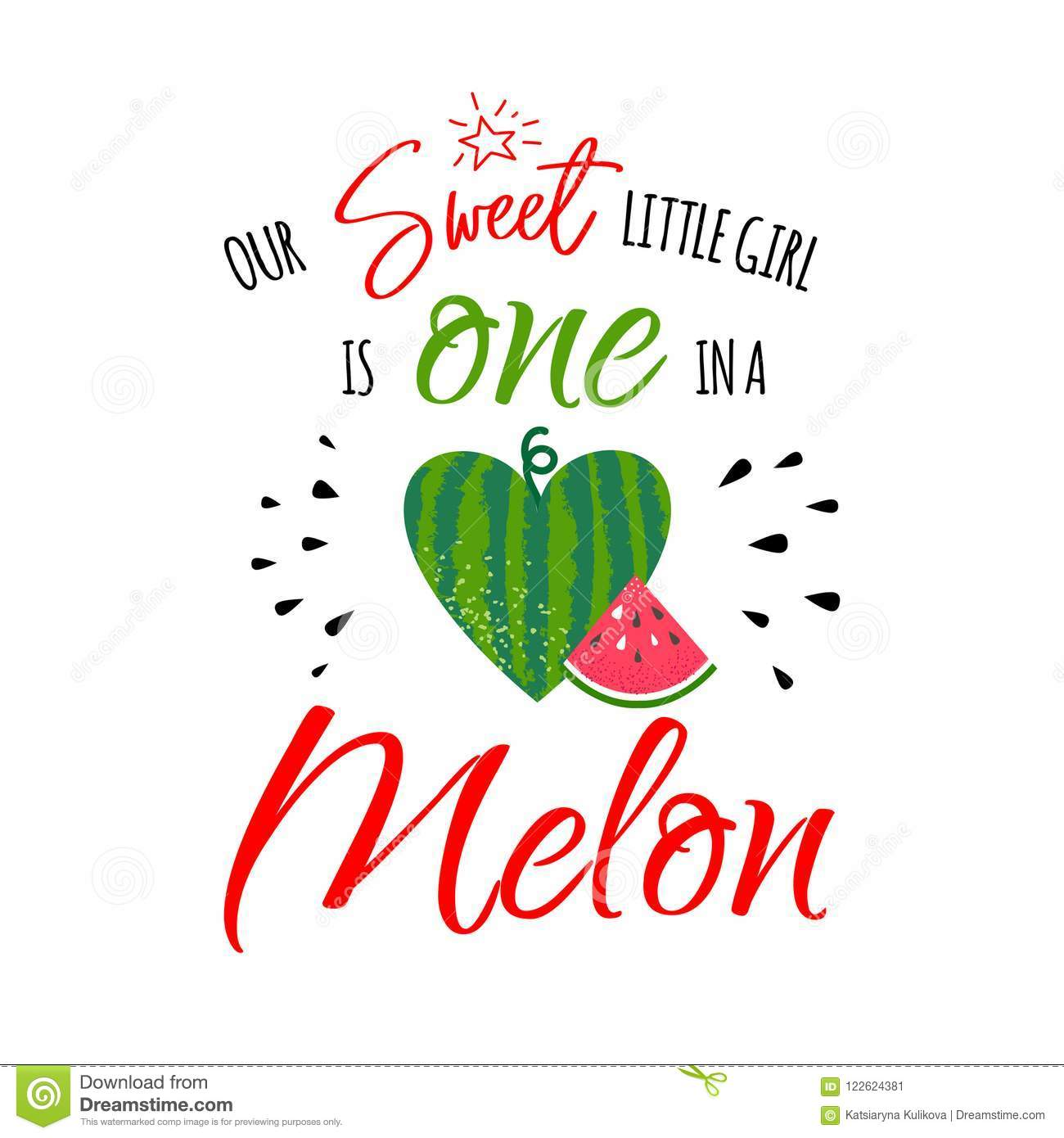 one in a melon girl stock vector illustration of card 122624381
