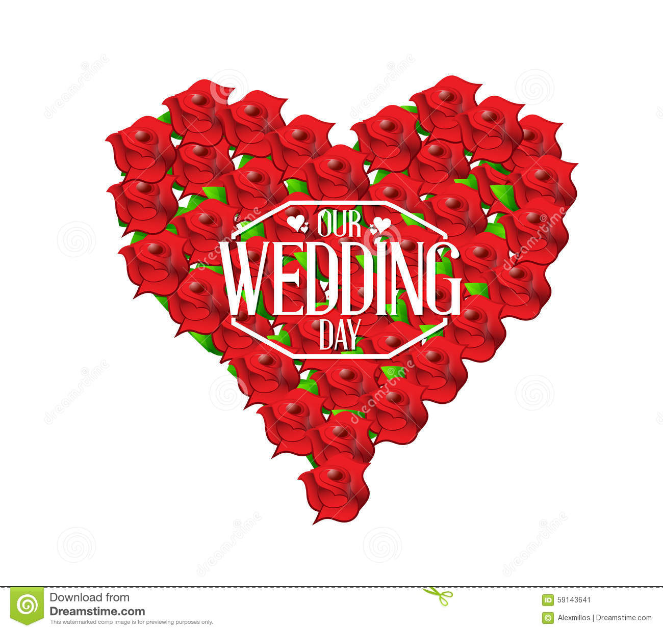 Our Wedding Day Love Heart In Flowers Illustration Stock