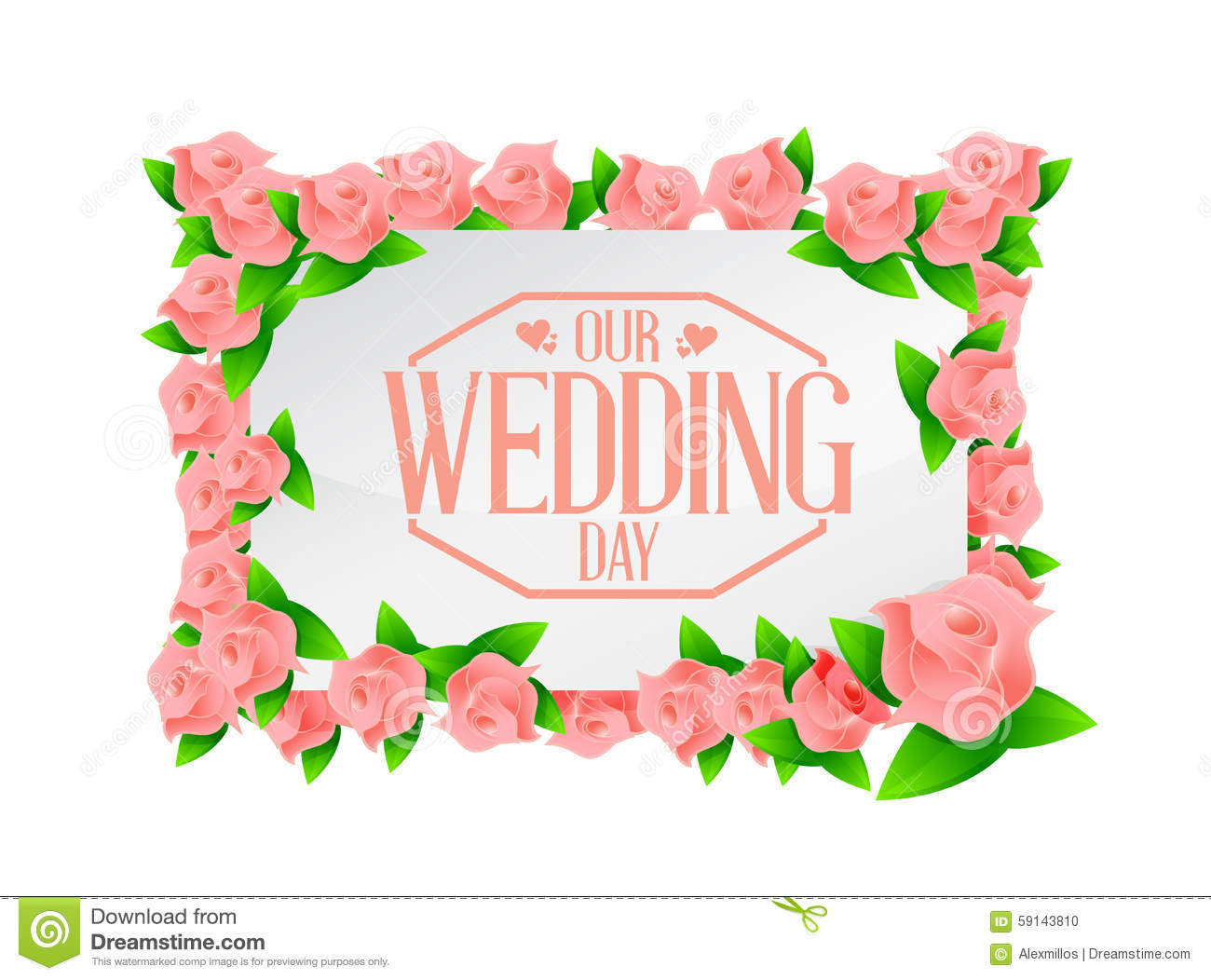 our wedding day pink flowers board illustration