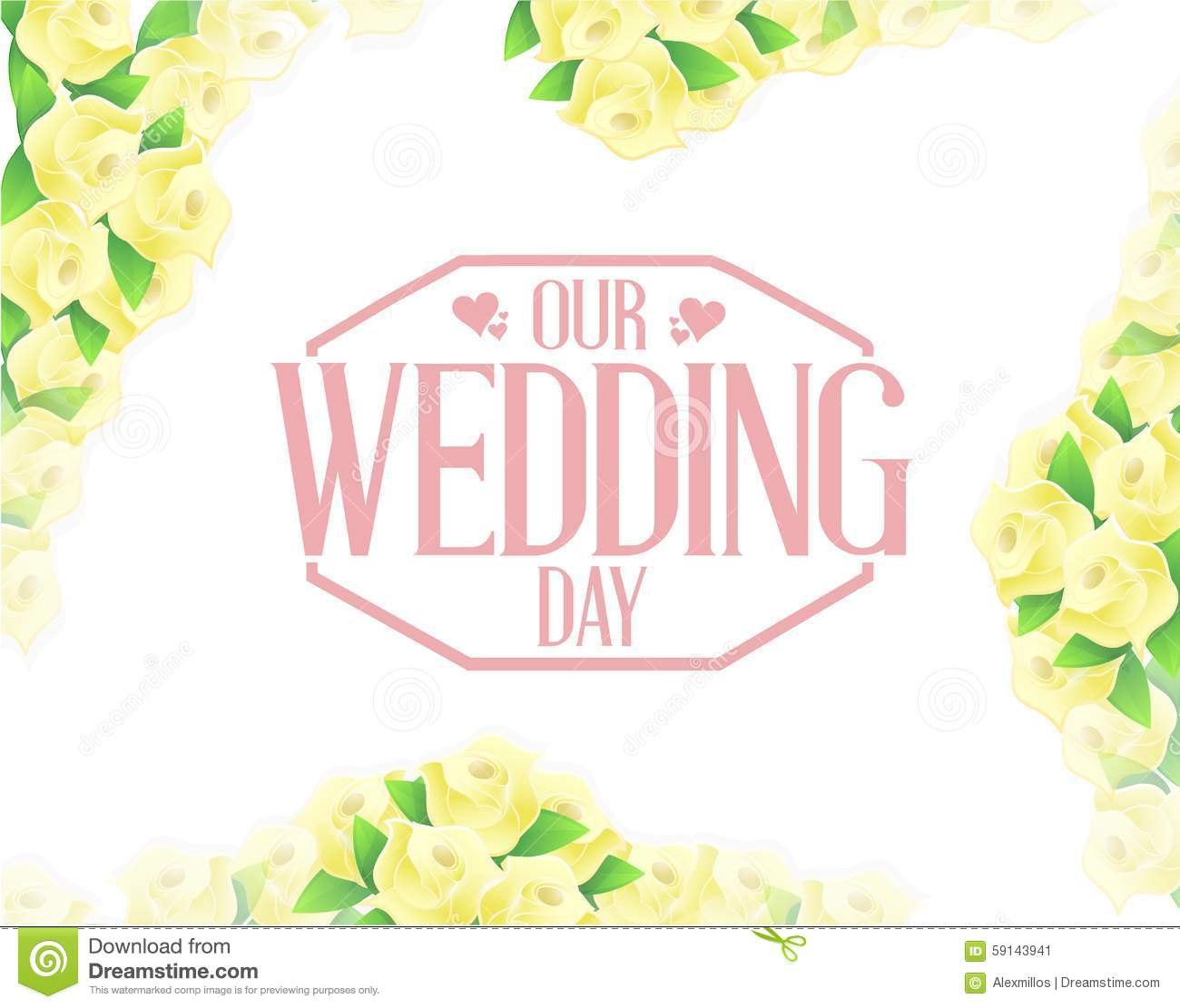 Our wedding day yellow flowers border background stock our wedding day yellow flowers border background junglespirit Choice Image